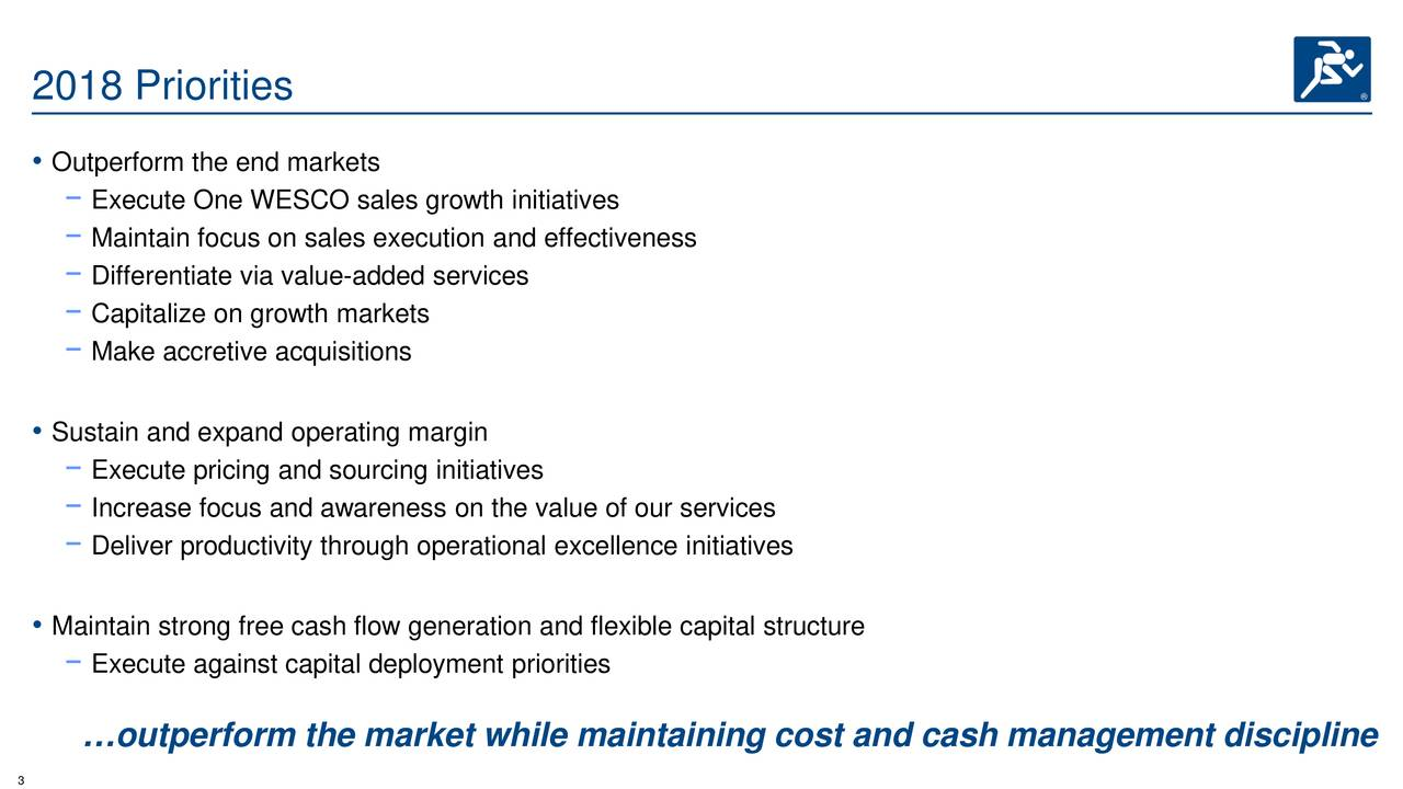 • Outperform the end markets −Execute One WESCO sales growth initiatives −Maintain focus on sales execution and effectiveness −Differentiate via value-added services −Capitalize on growth markets −Make accretive acquisitions • Sustain and expand operating margin −Execute pricing and sourcing initiatives −Increase focus and awareness on the value of our services −Deliver productivity through operational excellence initiatives • Maintain strong free cash flow generation and flexible capital structure −Execute against capital deployment priorities …outperform the market while maintaining cost and cash management discipline