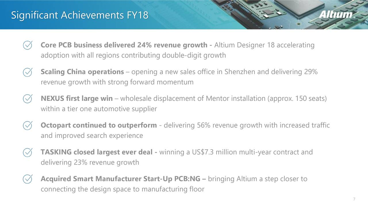 Altium Ltd 2018 Q4 Results Earnings Call Slides Large Screenshoot Of Merlin Pcb Designer Otcmktsalmff Seeking Alpha