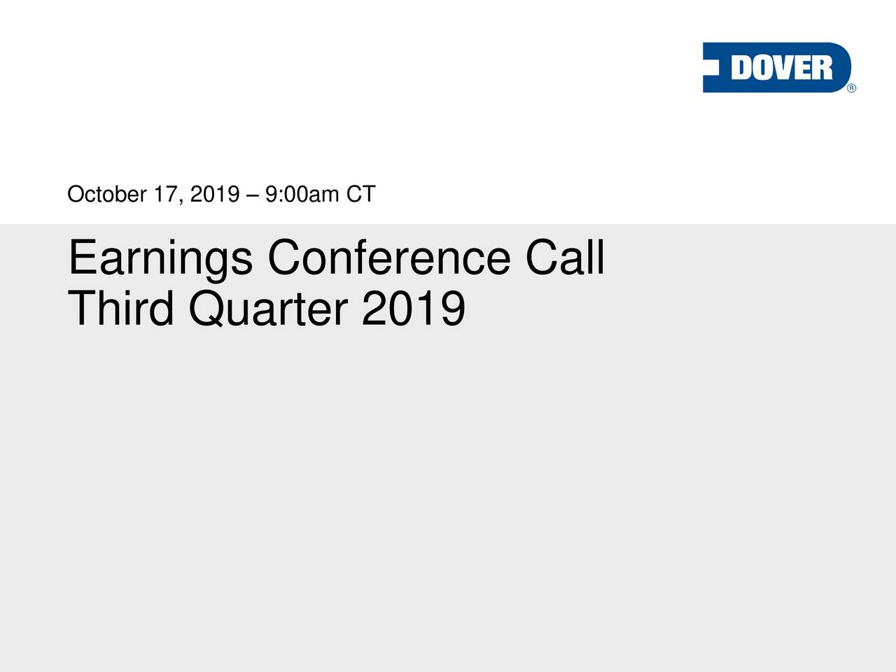 Dover Corporation 2019 Q3 - Results - Earnings Call Presentation