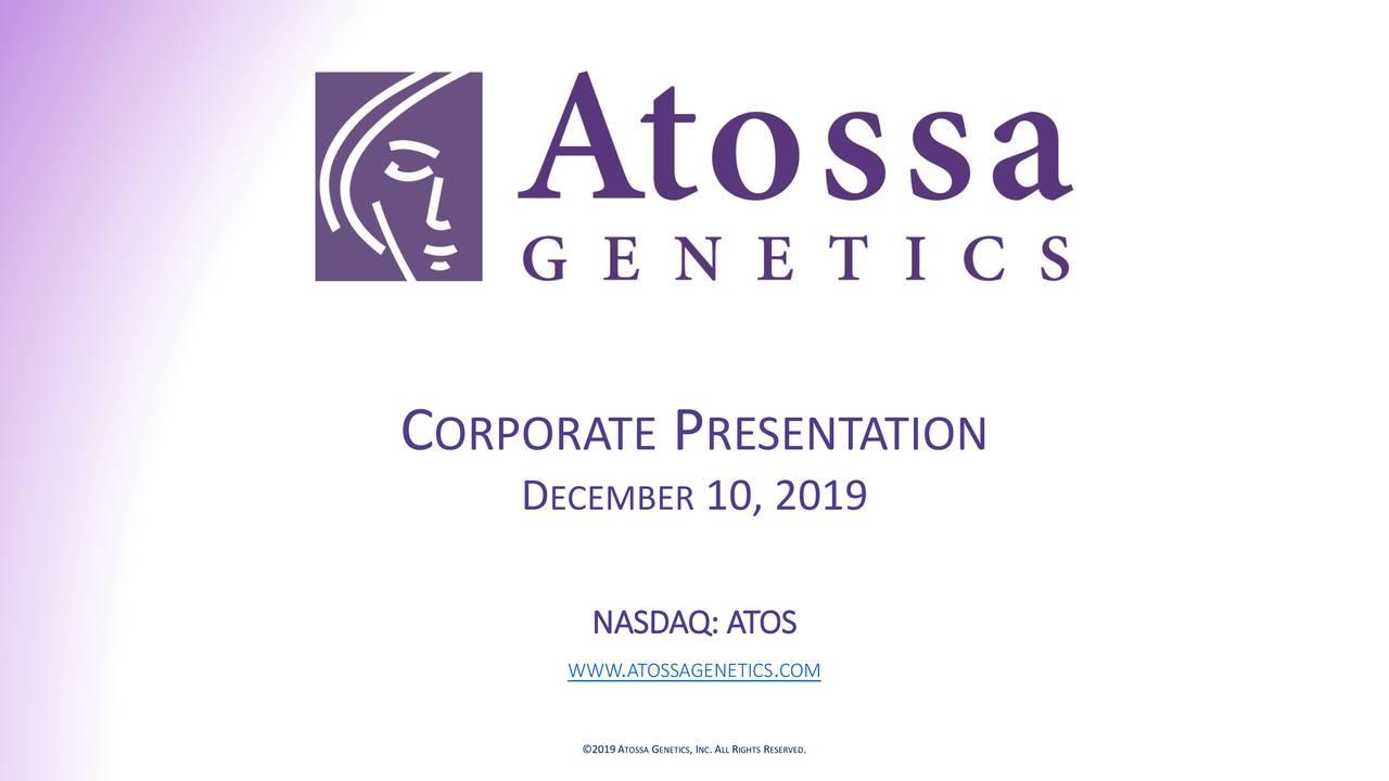 Atossa Genetics (ATOS) Investor Presentation - Slideshow - Atossa Genetics Inc. (NASDAQ:ATOS) | Seeking Alpha