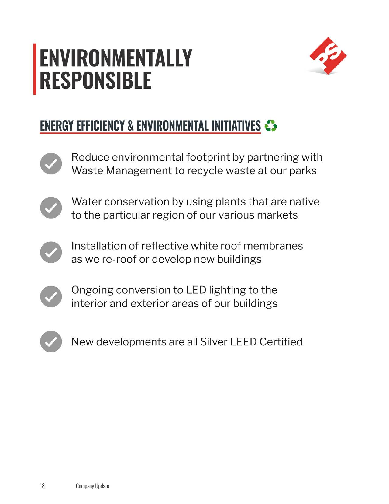 RESPONSIBLE ENERGY EFFICIENCY & ENVIRONMENTAL INITIATIVES 18 Company Update