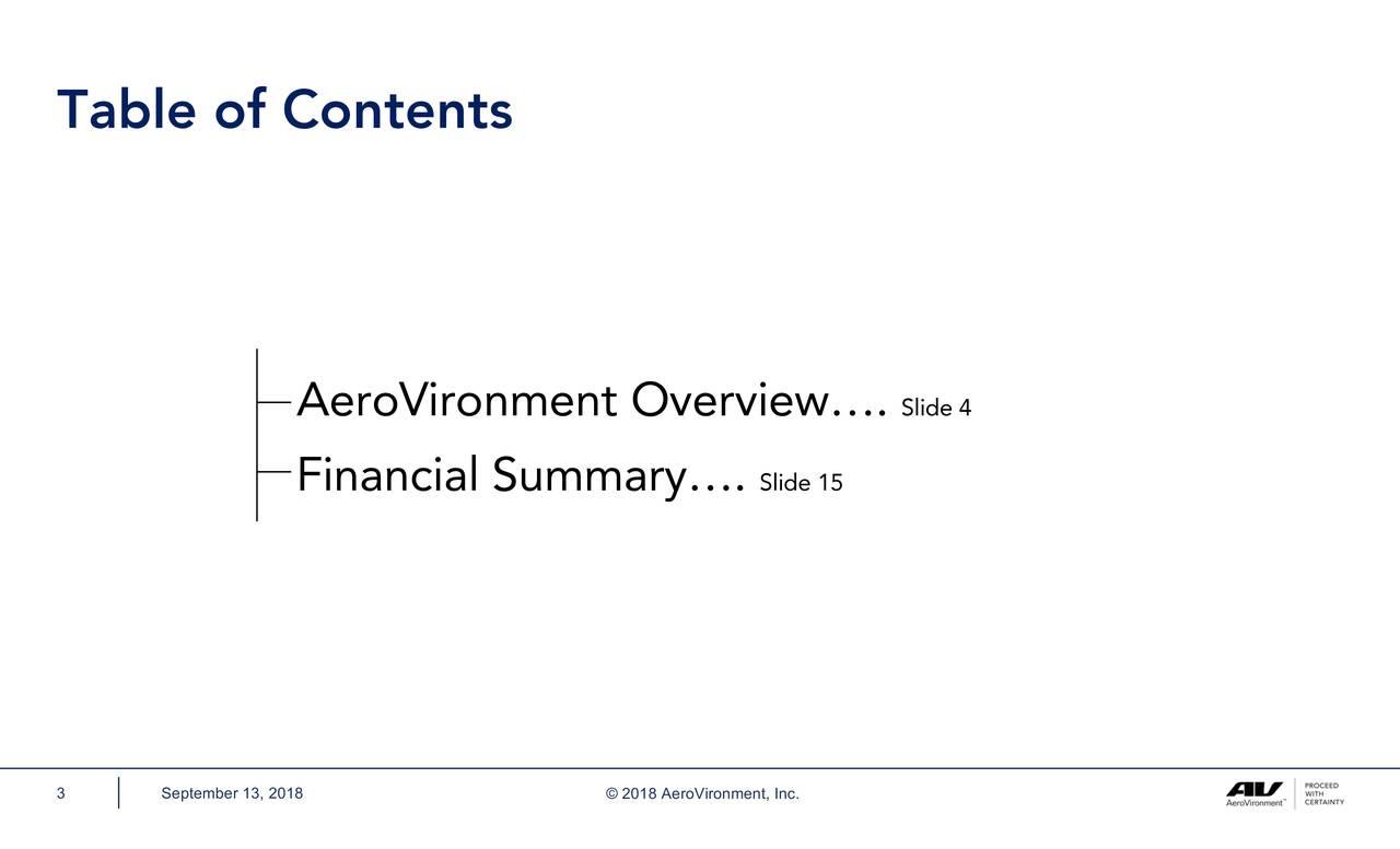 AeroVironment Overview…. Slide 4 Financial Summary…. Slide 15 3 September 13, 2018 © 2018 AeroVironment, Inc.