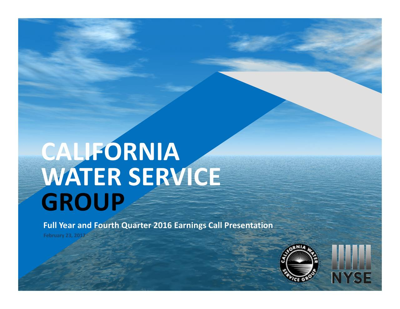 WA TER SERVICE GROUP February 23, 2017rth Quarter 2016 Earnings Call Presentation 1 I
