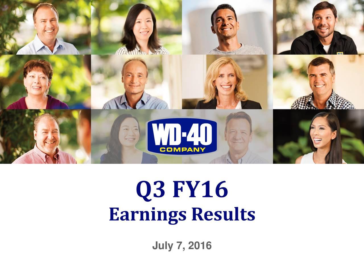Earnings Results July 7, 2016