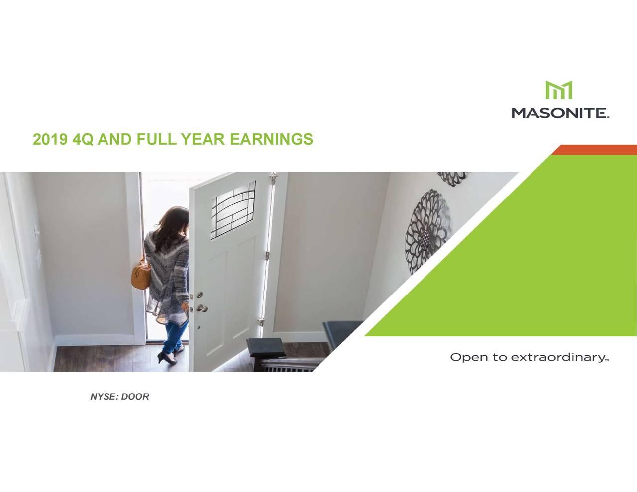 Masonite International Corporation 2019 Q4 - Results - Earnings Call Presentation - Masonite International Corporation (NYSE:DOOR) | Seeking Alpha