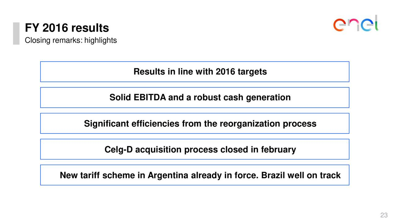 Enersis americas s a 2016 q4 results earnings call slides enel am ricas s a nyse enia - Cash metal tarif ...