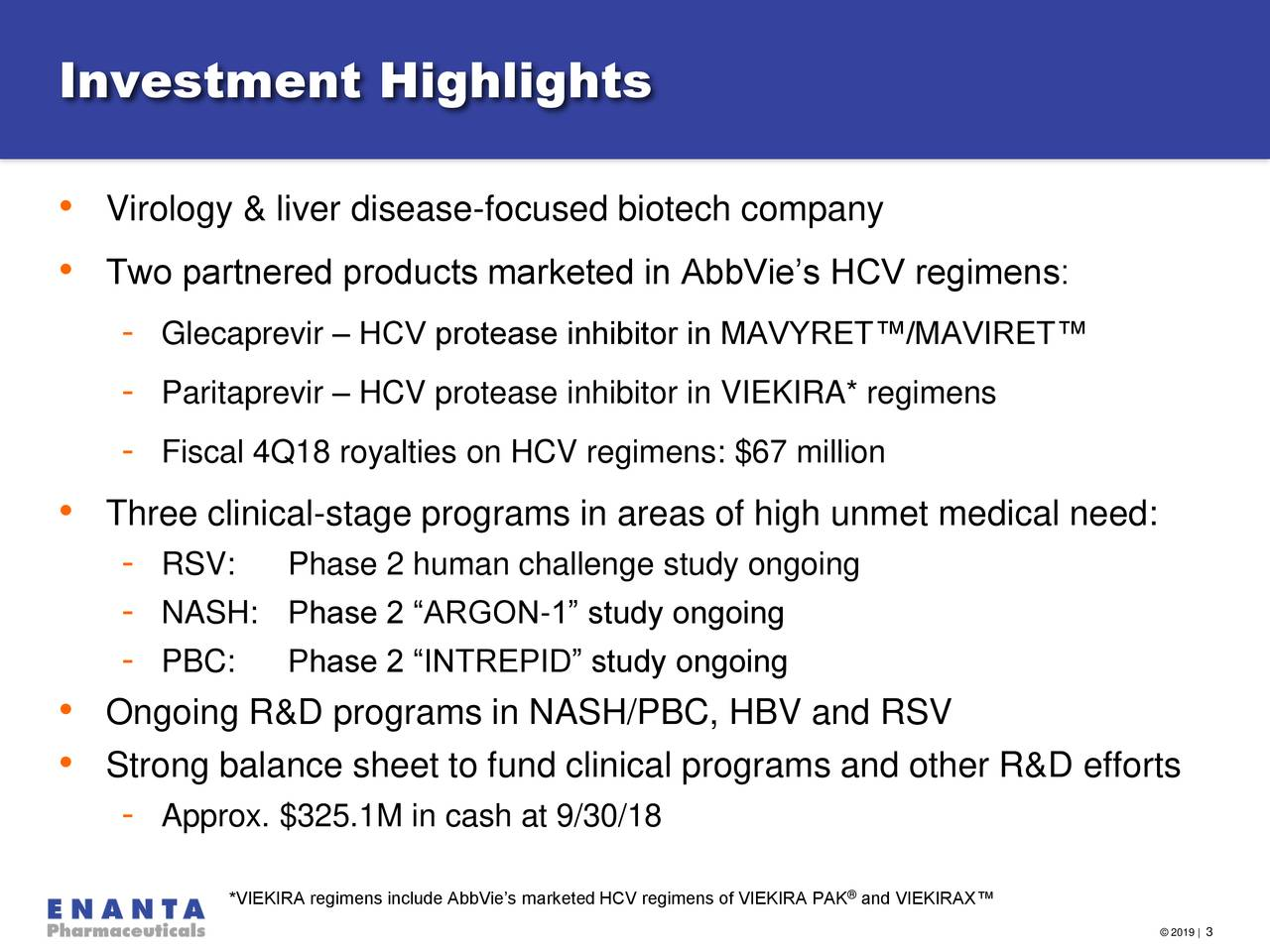"""• Virology & liver disease-focused biotech company • Two partnered products marketed in AbbVie's HCV regimens: - Glecaprevir – HCV protease inhibitor in MAVYRET™/MAVIRET™ - Paritaprevir – HCV protease inhibitor in VIEKIRA* regimens - Fiscal 4Q18 royalties on HCV regimens: $67 million • Three clinical-stage programs in areas of high unmet medical need: - RSV: Phase 2 human challenge study ongoing - NASH: Phase 2 """"ARGON-1"""" study ongoing - PBC: Phase 2 """"INTREPID"""" study ongoing • Ongoing R&D programs in NASH/PBC, HBV and RSV • Strong balance sheet to fund clinical programs and other R&D efforts - Approx. $325.1M in cash at 9/30/18 ® *VIEKIRA regimens include AbbVie's marketed HCV regimens of VIEKIRA PAK and VIEKIRAX™"""