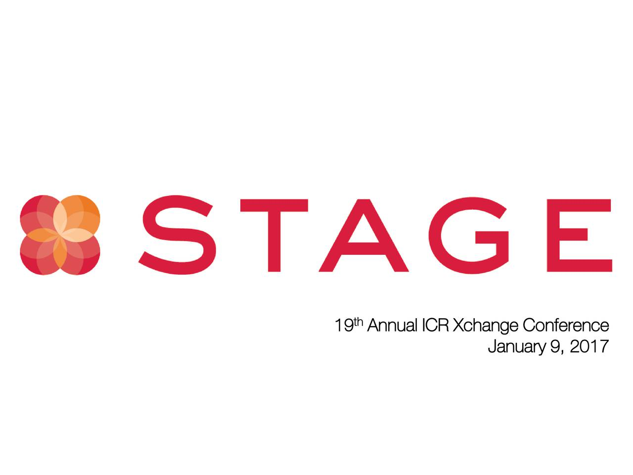 19 Annual ICR Xchange Conference January 9, 2017