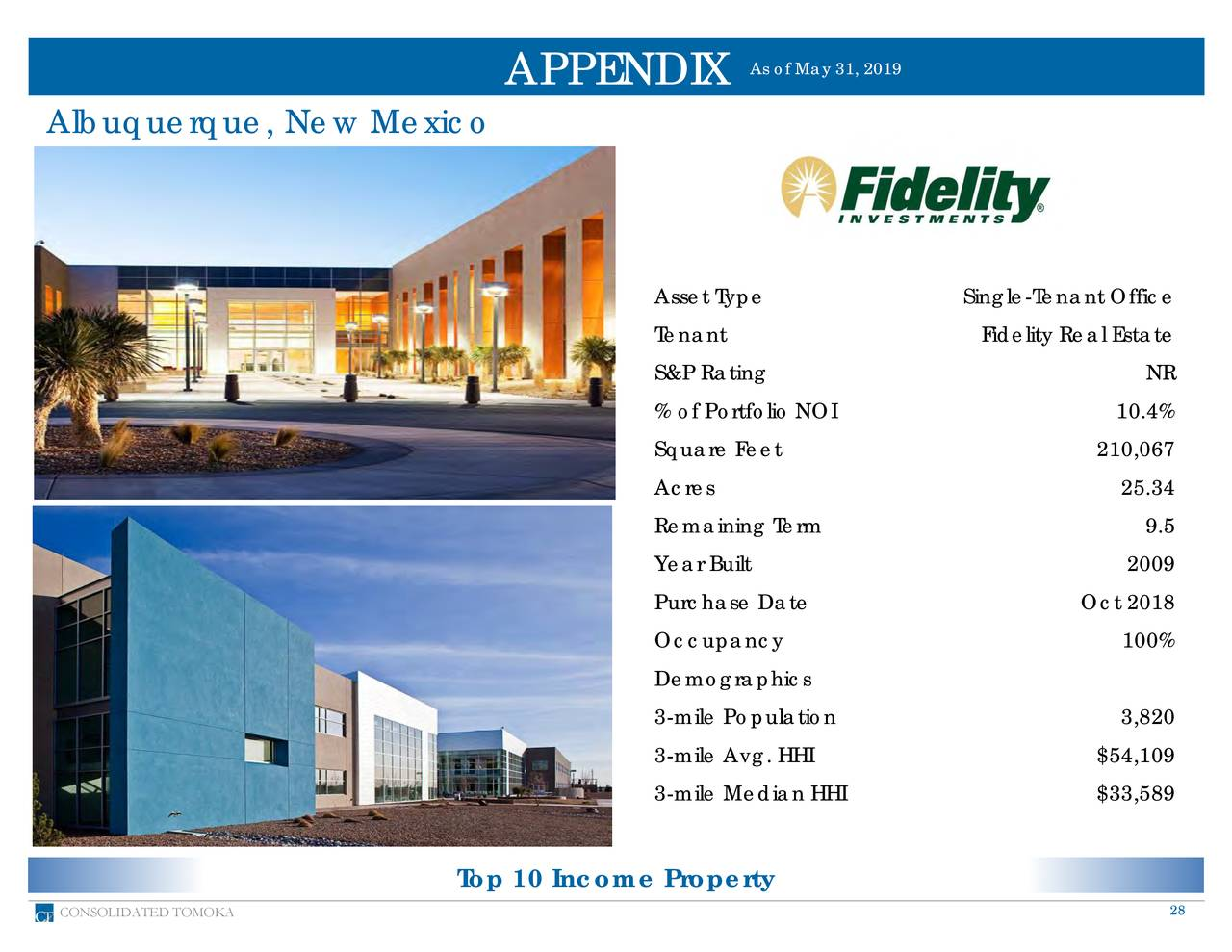 APPENDIX Albuquerque, New Mexico Asset Type Single-Tenant Office Tenant Fidelity Real Estate S&P Rating NR % of Portfolio NOI 10.4% Square Feet 210,067 Acres 25.34 Remaining Term 9.5 Year Built 2009 Purchase Date Oct 2018 Occupancy 100% Demographics 3-mile Population 3,820 3-mile Avg. HHI $54,109 3-mile Median HHI $33,589 Top 10 Income Property CONSOLIDATED TOMOKA 28