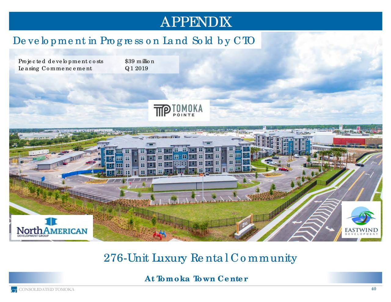 Development in Progress on Land Sold by CTO Projected development cost$39 million Leasing Commencement Q1 2019 276-Unit Luxury Rental Community At Tomoka Town Center CONSOLIDATED TOMOKA 40
