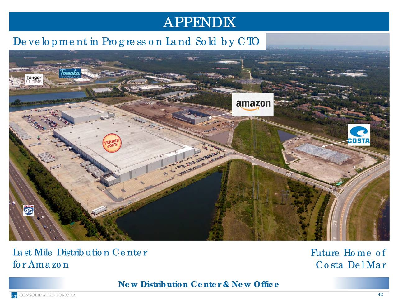 Development in Progress on Land Sold by CTO Last Mile Distribution Center Future Home of for Amazon Costa Del Mar New Distribution Center & New Office CONSOLIDATED TOMOKA 42