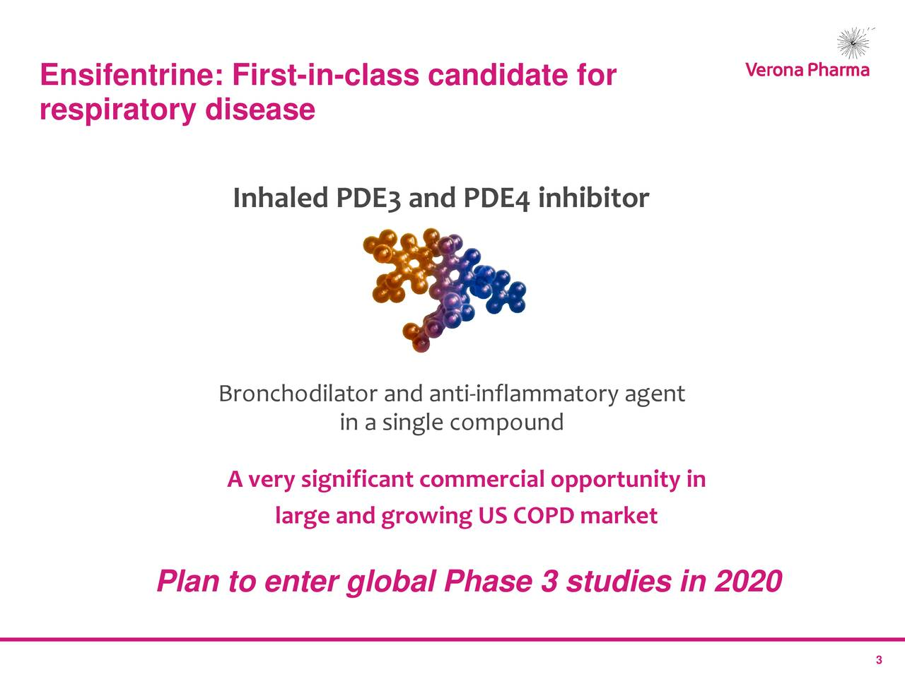 respiratory disease Inhaled PDE3 and PDE4 inhibitor Bronchodilator and anti-inflammatory agent in a single compound A very significant commercial opportunity in large and growing US COPD market Plan to enter global Phase 3 studies in 2020 3