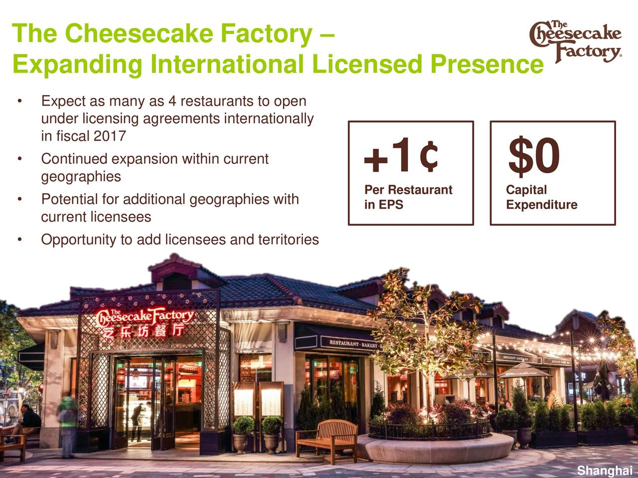 an analysis of the market and finances of the cheesecake factory company Cheesecake factory inc stock price, stock quotes and financial overviews from marketwatch the company expects 2018 same-store sales to be flat to up 10%.
