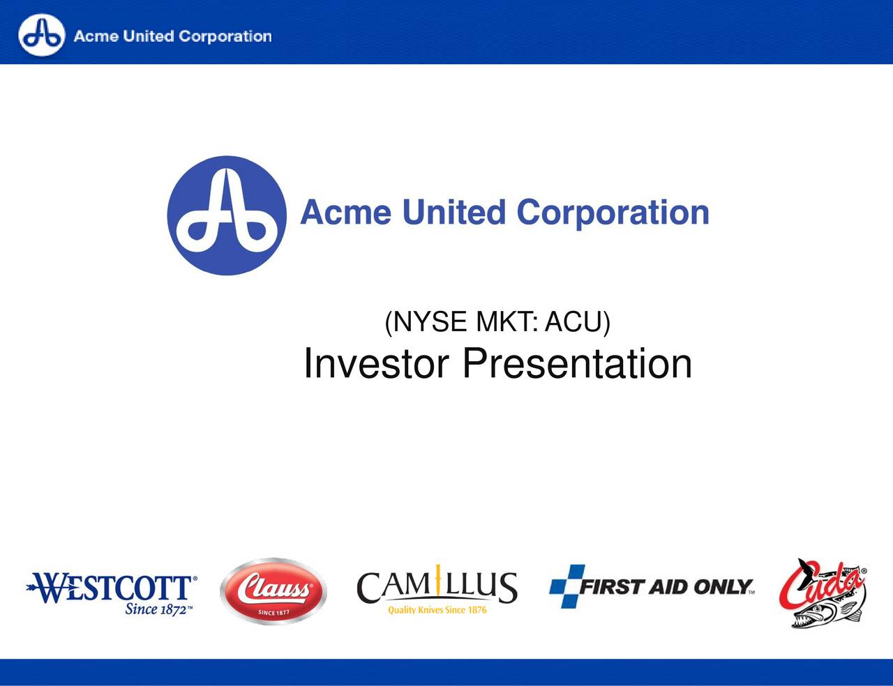 acme united corporation Acu: acme united corporation - full company report get the latest full company report for acme united corporation from zacks investment research.