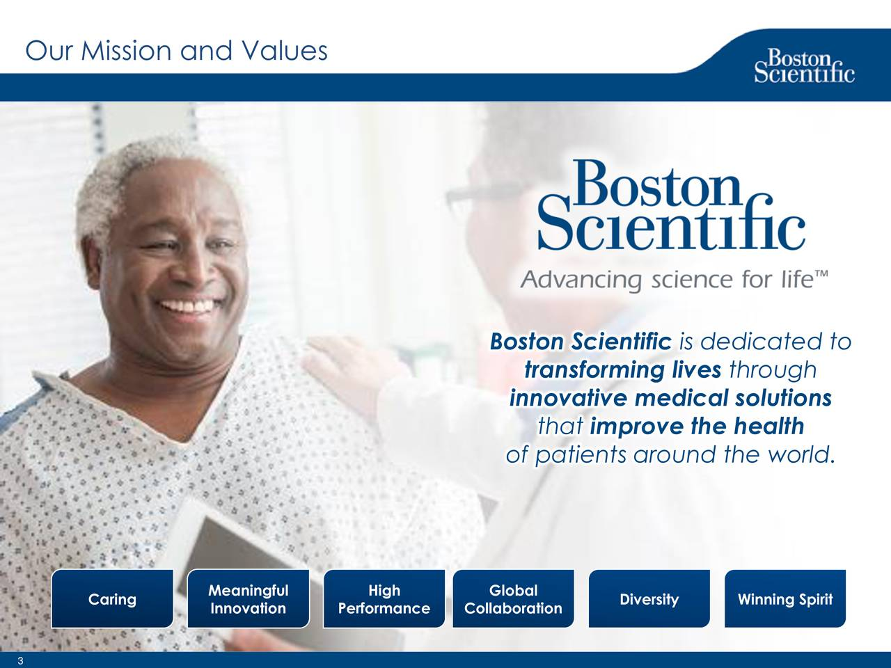 Boston Scientific is dedicated to transforming lives through innovative medical solutions that improve the health of patients around the world. Caring Meaningful High Global Diversity Winning Spirit Innovation Performance Collaboration
