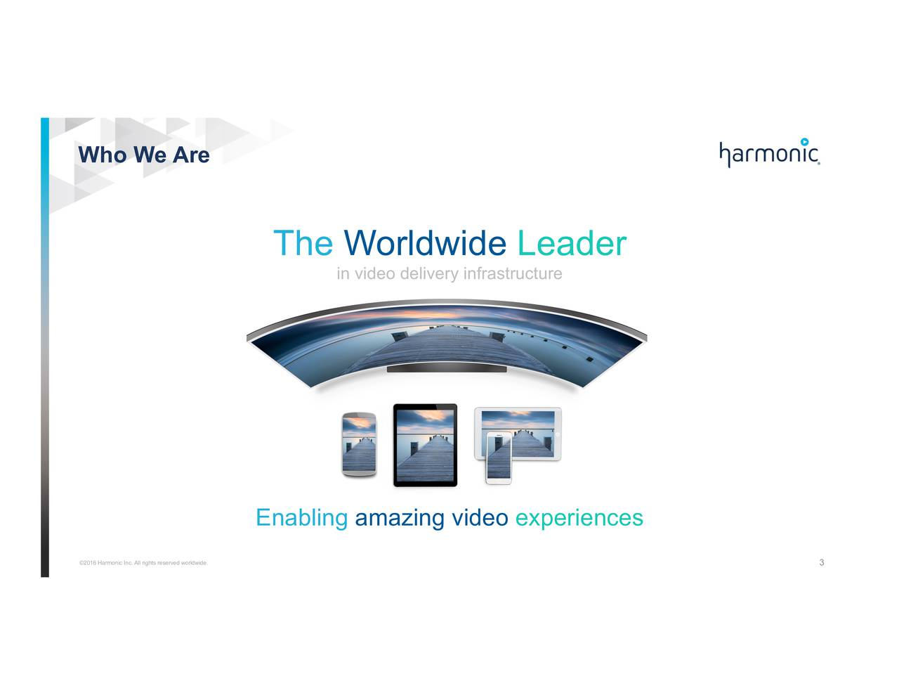 The Worldwide Leader in video delivery infrastructure Enabling amazing video experiences 2016 Harmonic Inc. All rights reserved worldwide. 3