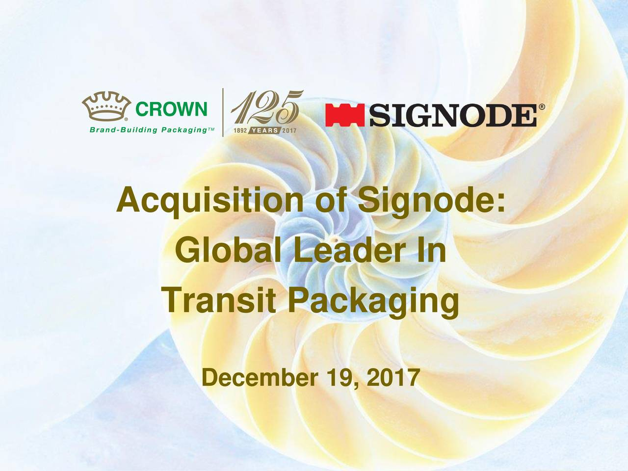 Crown Holdings CCK Acquires Signode Industrial Group Holdings