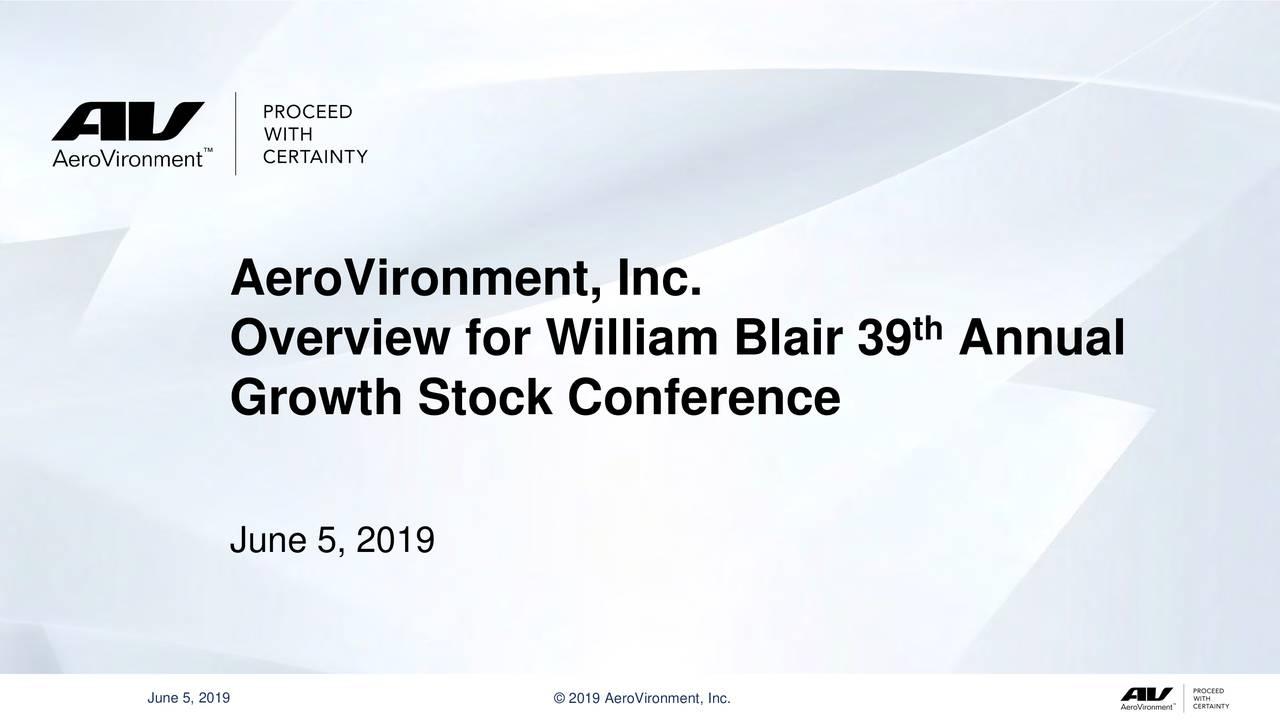 AeroVironment (AVAV) Presents At William Blair Growth Stock Conference - Slideshow