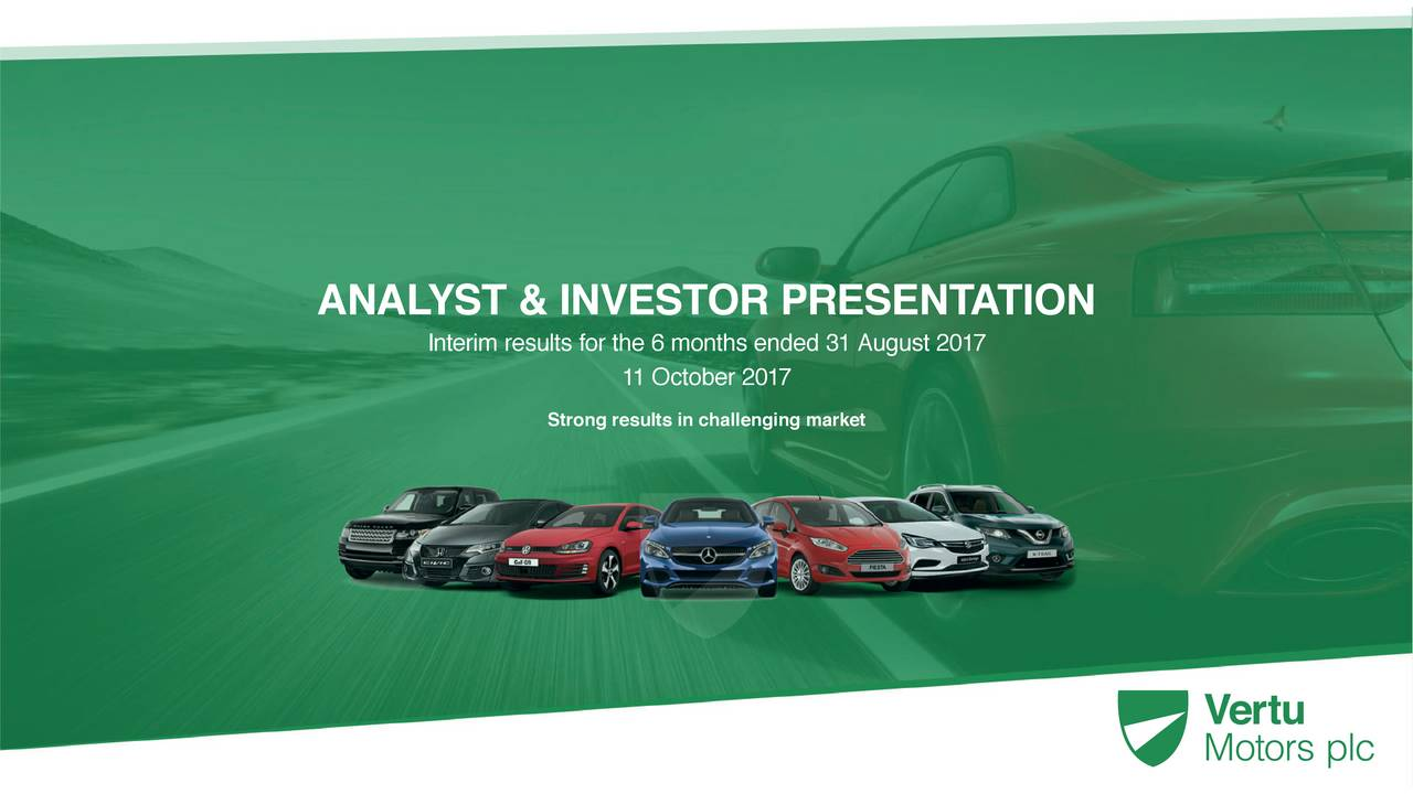 Interim results for the 6 months ended 31 August 2017 11 October 2017 Strong results in ...