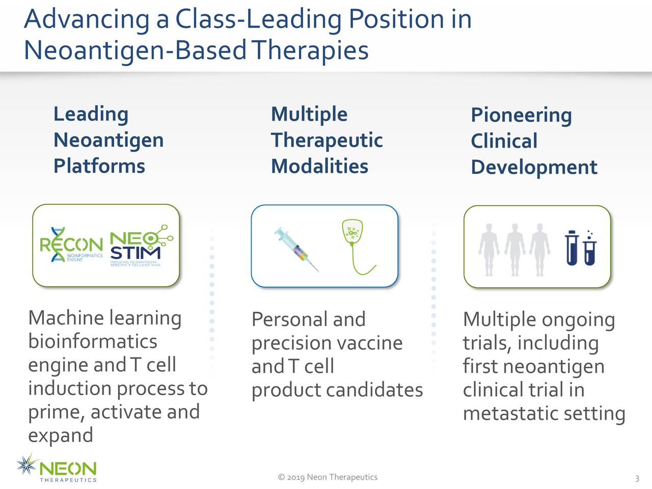 Neoantigen-BasedTherapies Leading Multiple Pioneering Neoantigen Therapeutic Clinical Platforms Modalities Development Machine learning Personal and Multiple ongoing bioinformatics precision vaccine trials, including engine andT cell andT cell first neoantigen induction processto productcandidates clinical trial in prime, activate and metastatic setting expand