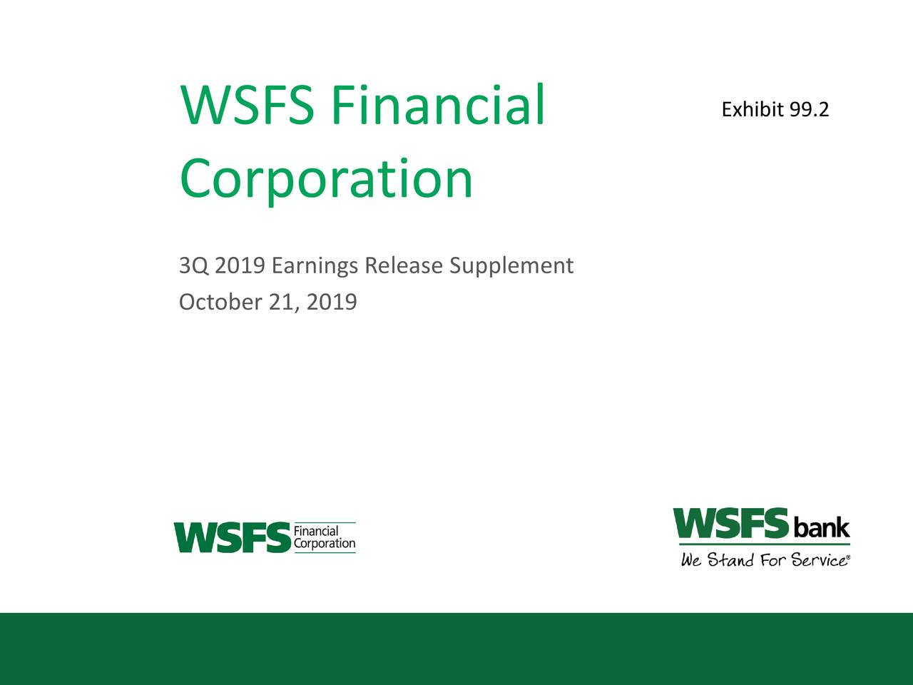 WSFS Financial Corporation 2019 Q3 - Results - Earnings Call Presentation