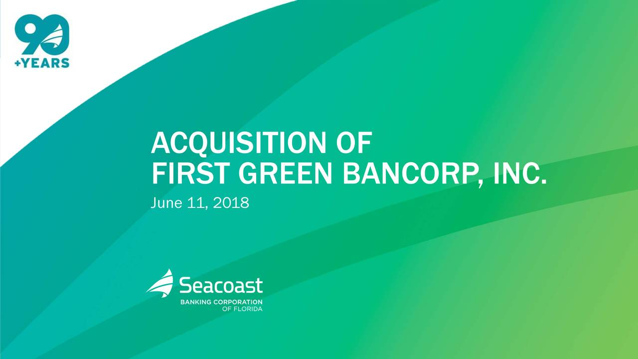 FIRST GREEN BANCORP , INC. June 11, 2018