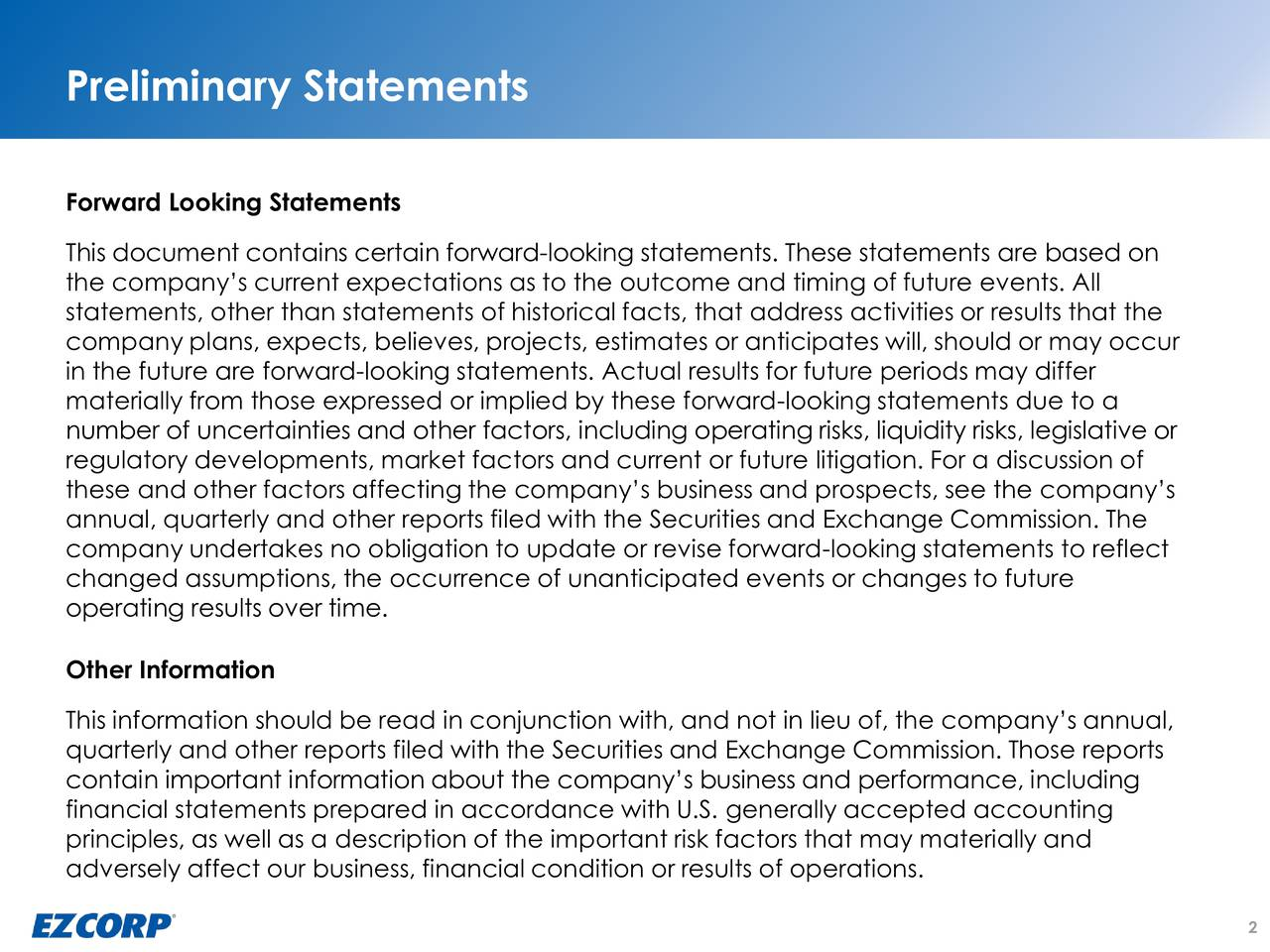 Forward Looking Statements This document contains certain forward-looking statements. These statements are based on the companys current expectations as to the outcome and timing of future events. All statements, other than statements of historical facts, that address activities or results that the company plans, expects, believes, projects, estimates or anticipates will, should or may occur in the future are forward-looking statements. Actual results for future periods may differ materially from those expressed or implied by these forward-looking statements due to a number of uncertainties and other factors, including operating risks, liquidity risks, legislative or regulatory developments, market factors and current or future litigation. For a discussion of these and other factors affecting the companys business and prospects, see the companys annual, quarterly and other reports filed with the Securities and Exchange Commission. The company undertakes no obligation to update or revise forward-looking statements to reflect changed assumptions, the occurrence of unanticipated events or changes to future operating results over time. Other Information This information should be read in conjunction with, and not in lieu of, the companys annual, quarterly and other reports filed with the Securities and Exchange Commission. Those reports contain important information about the companys business and performance, including financial statements prepared in accordance with U.S. generally accepted accounting principles, as well as a description of the important risk factors that may materially and adversely affect our business, financial condition or results of operations. 2