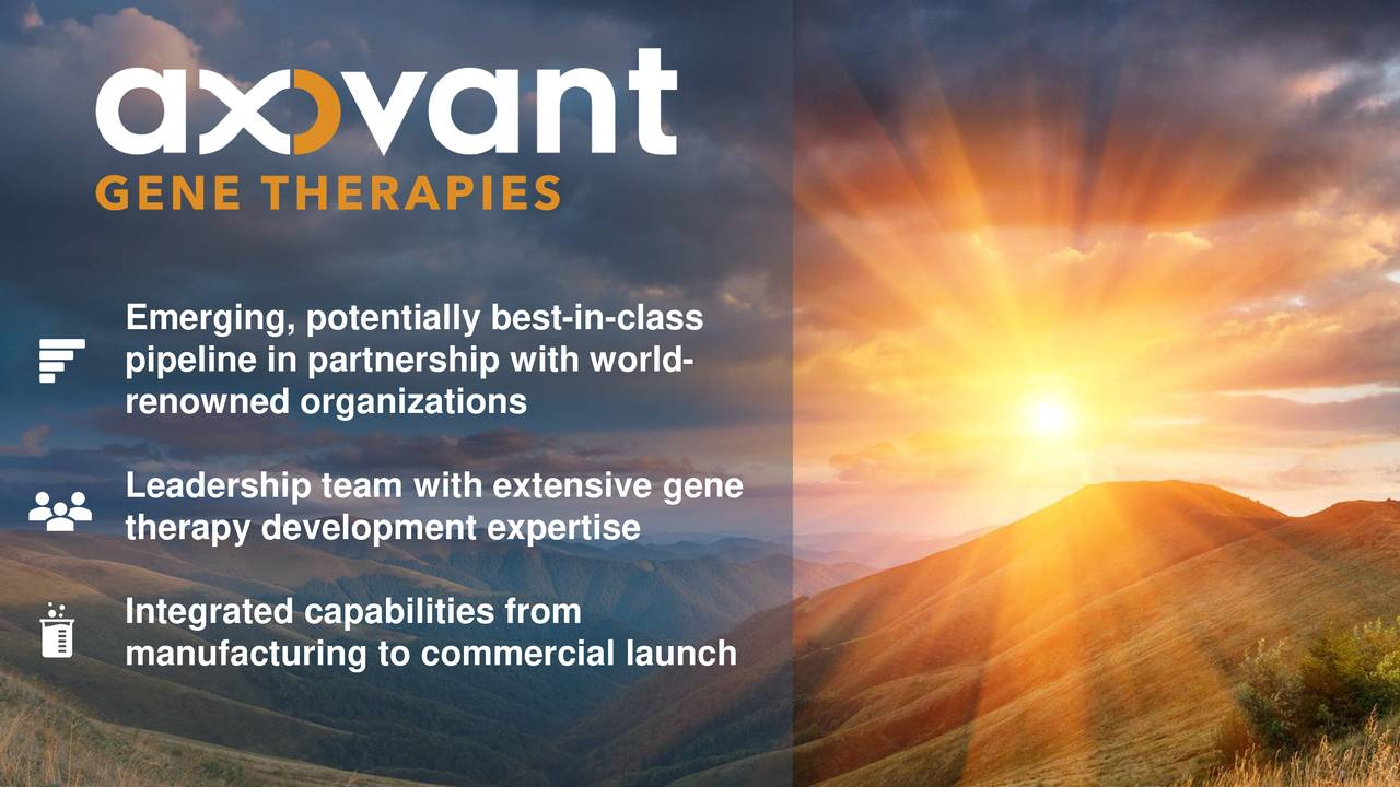 pipeline in partnership with world- renowned organizations Leadership team with extensive gene therapy development expertise Integrated capabilities from manufacturing to commercial launch
