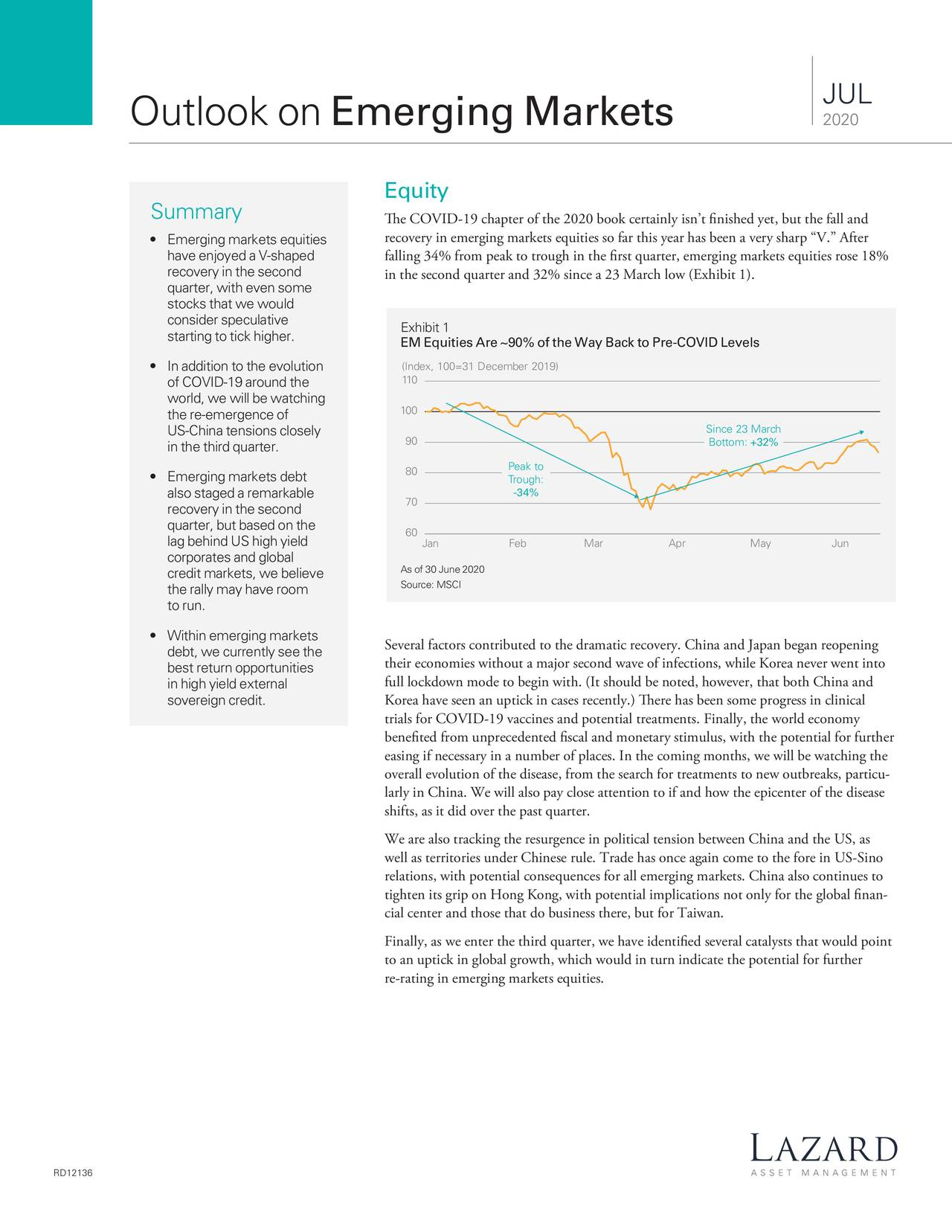 Lazard Asset Management - Outlook On Emerging Markets - July 2020