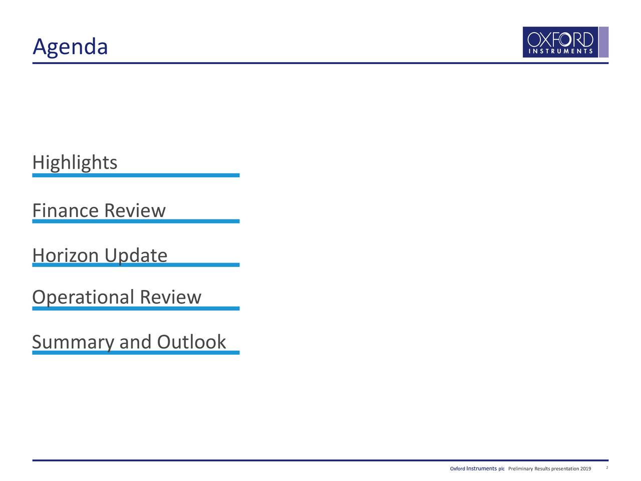 Highlights Finance Review Horizon Update Operational Review Summary and Outlook Oxod nsumeentpllPrminaaReullprrntton219io 2