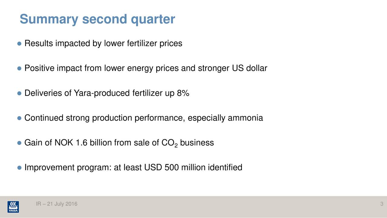 Results impacted by lower fertilizer prices Positive impact from lower energy prices and stronger US dollar Deliveries of Yara-produced fertilizer up 8% Continued strong production performance, especially ammonia Gain of NOK 1.6 billion from sale of2CO business Improvement program: at least USD 500 million identified IR  21 July 2016 3