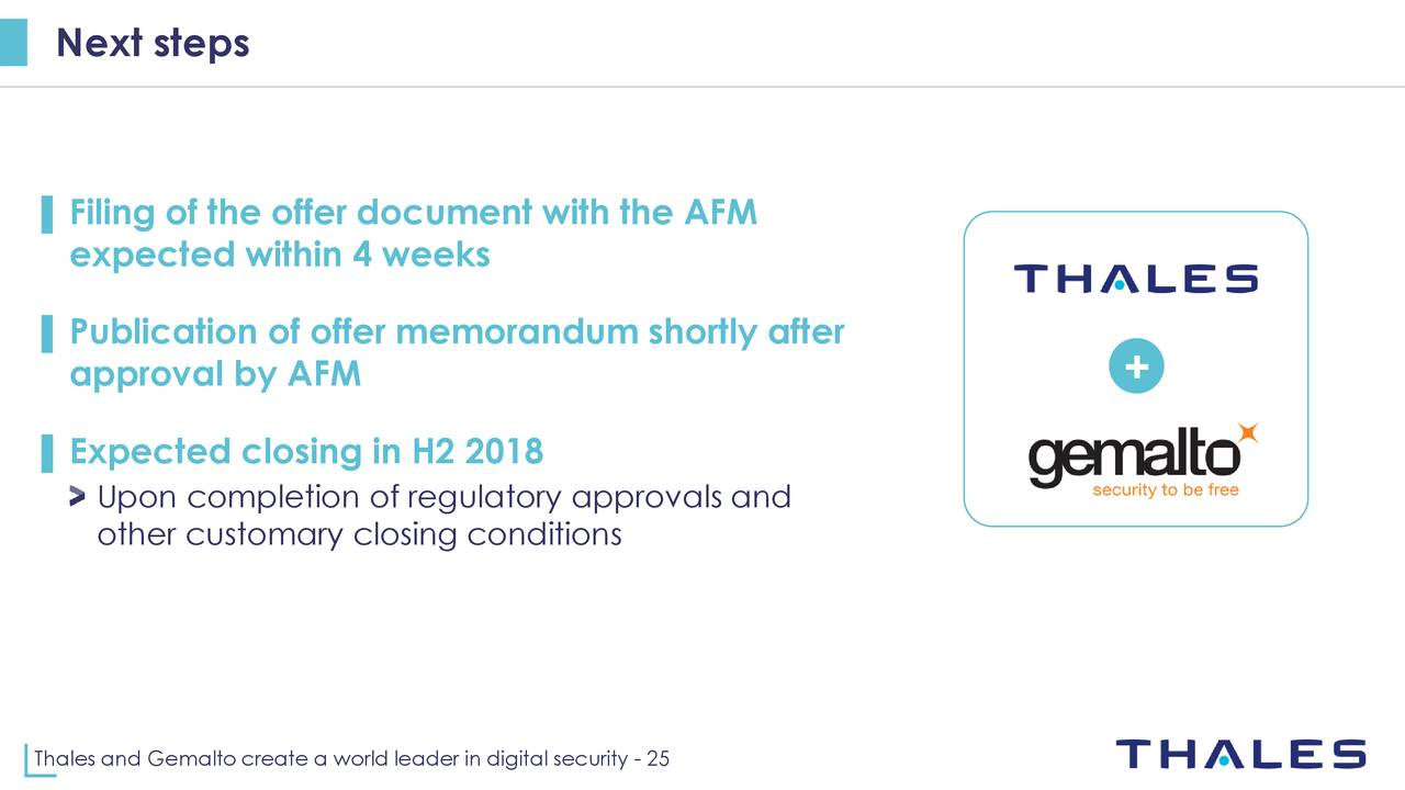 Thales And Gemalto Create A World Leader In Digital Security