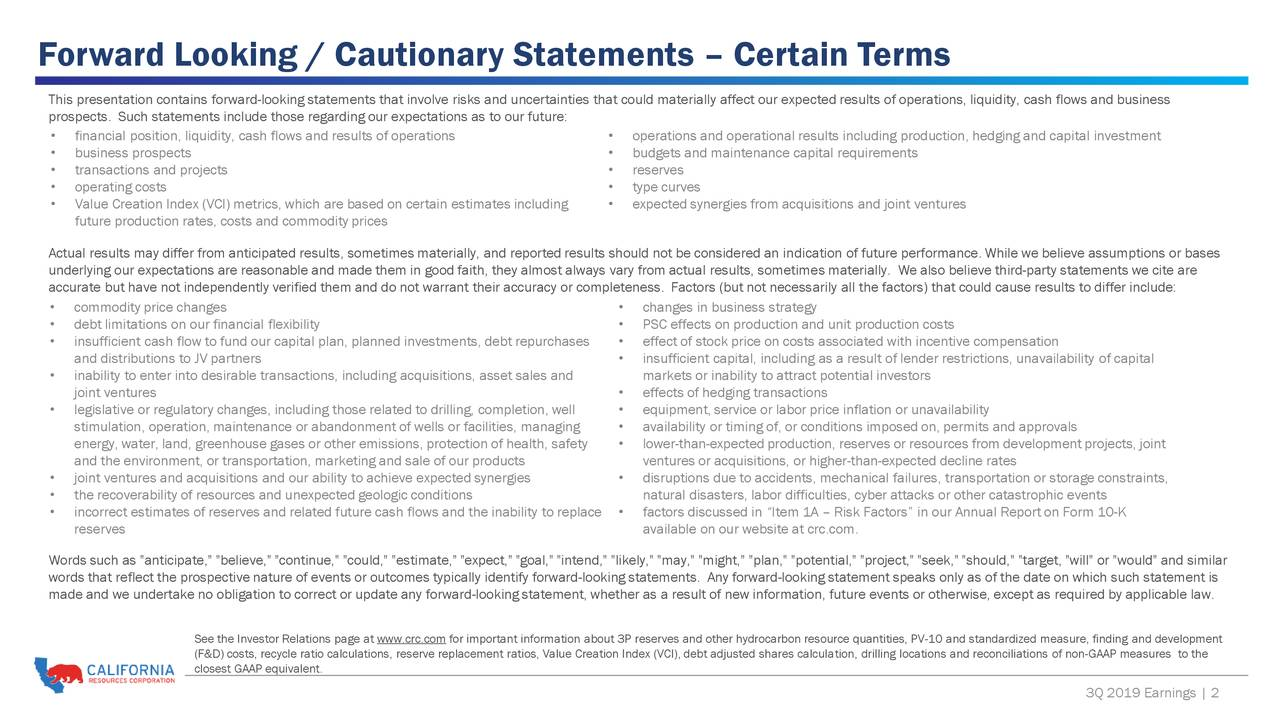 Forward Looking / Cautionary Statements – Certain Terms