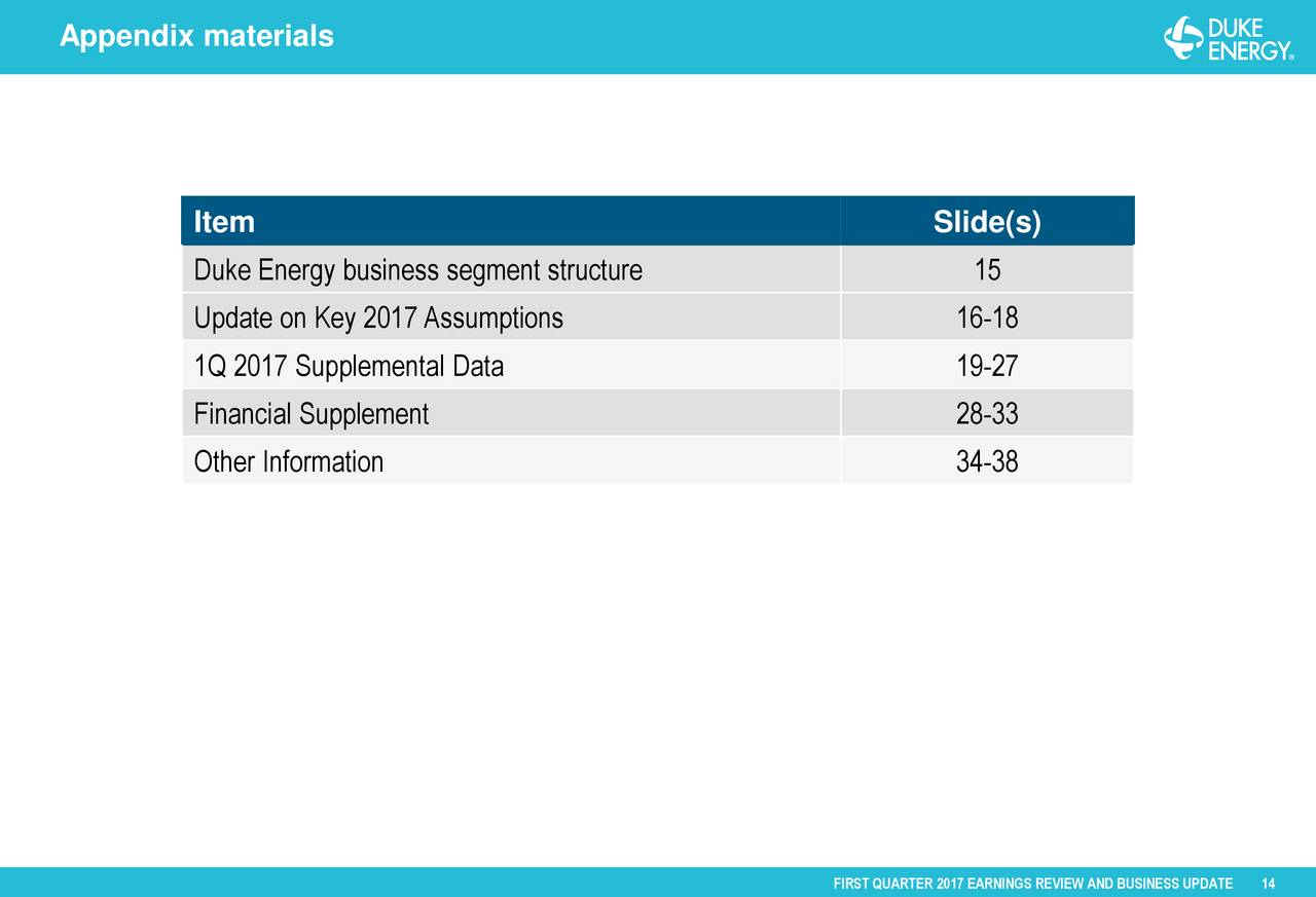 Duke Energy Stock Quote Duke Energy Corporation 2017 Q1  Results  Earnings Call Slides
