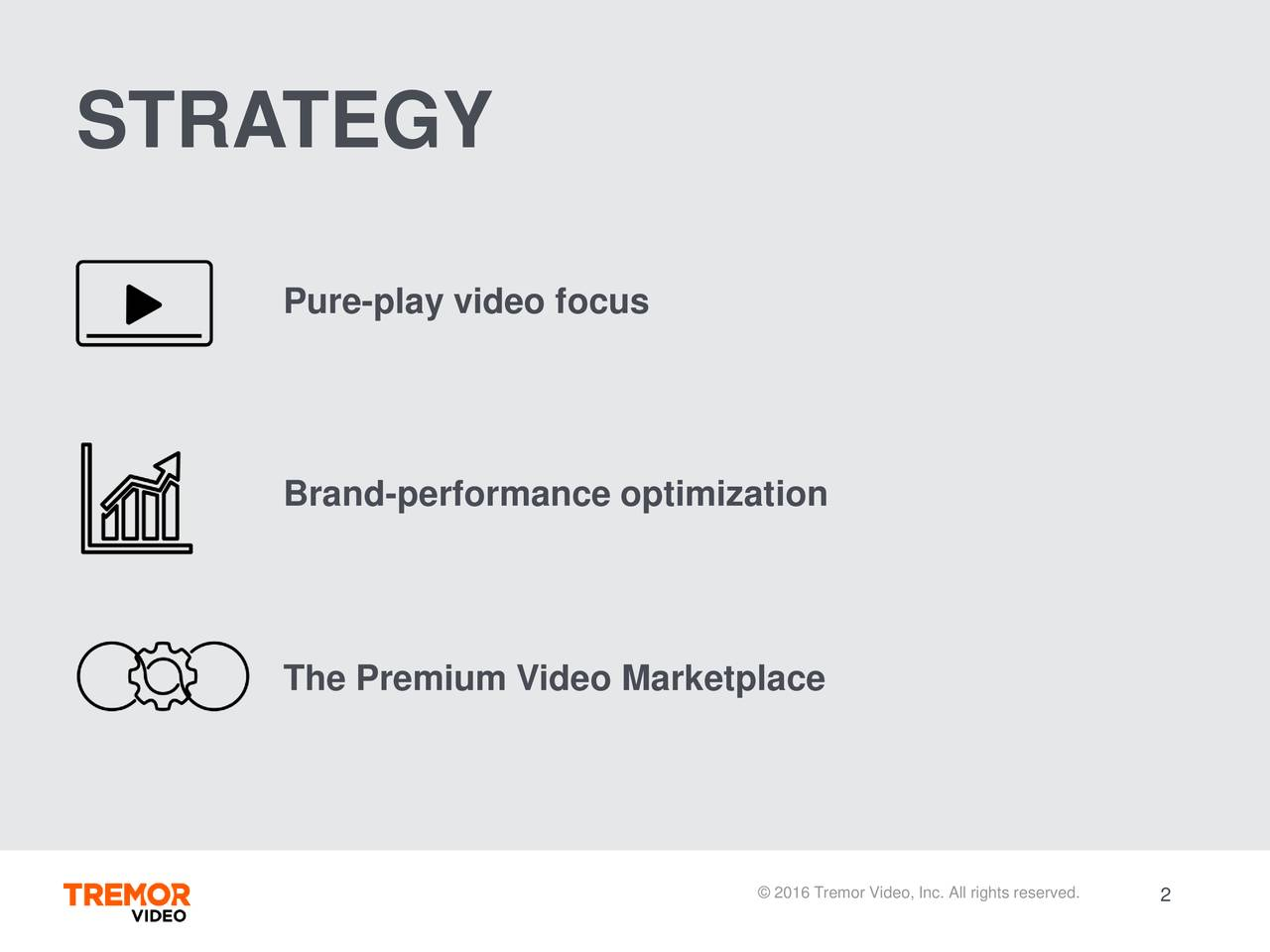 Pure-play video focus Brand-performance optimization The Premium Video Marketplace 2016 Tremor Vi2eo, Inc. All rights reserved.