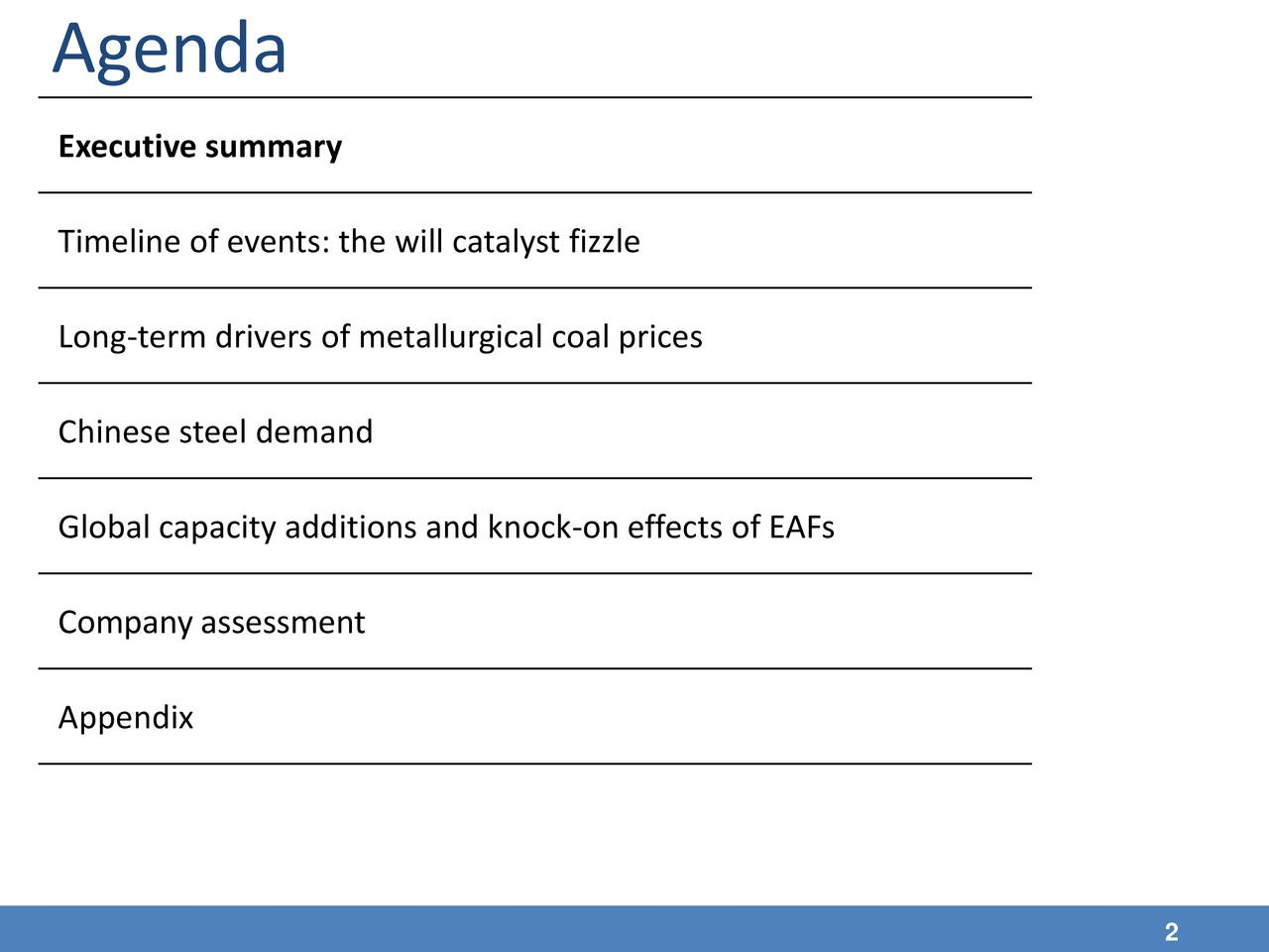 Executive summary Timeline of events: the will catalyst fizzle Long-term drivers of metallurgical coal prices Chinese steel demand Global capacity additions and knock-on effects of EAFs Company assessment Appendix