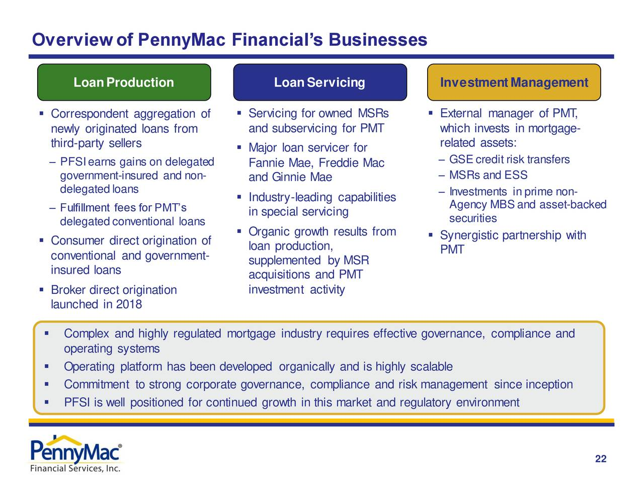 Descripción general de los negocios de PennyMac Financial