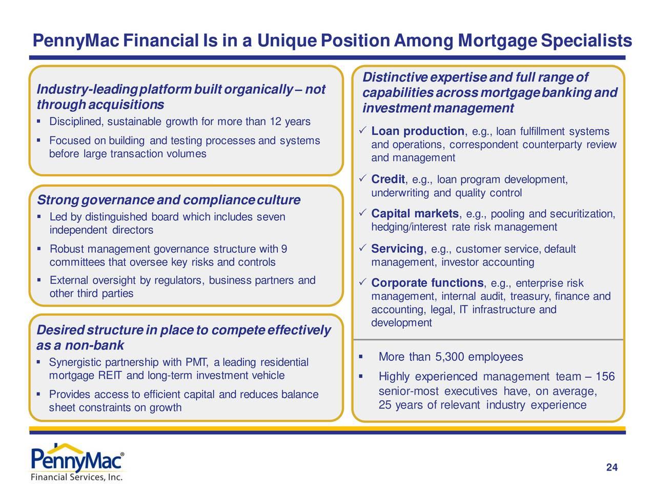PennyMacFinancial se encuentra en una posición única entre los especialistas en hipotecas