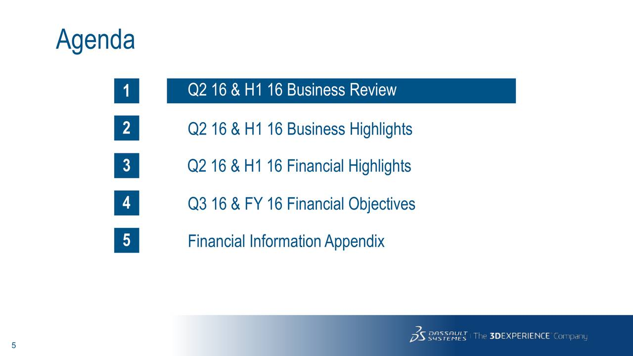 1 Q2 16 & H1 16 Business Review 2 Q2 16 & H1 16 Business Highlights 3 Q2 16 & H1 16 Financial Highlights 4 Q3 16 & FY 16 Financial Objectives 5 Financial InformationAppendix