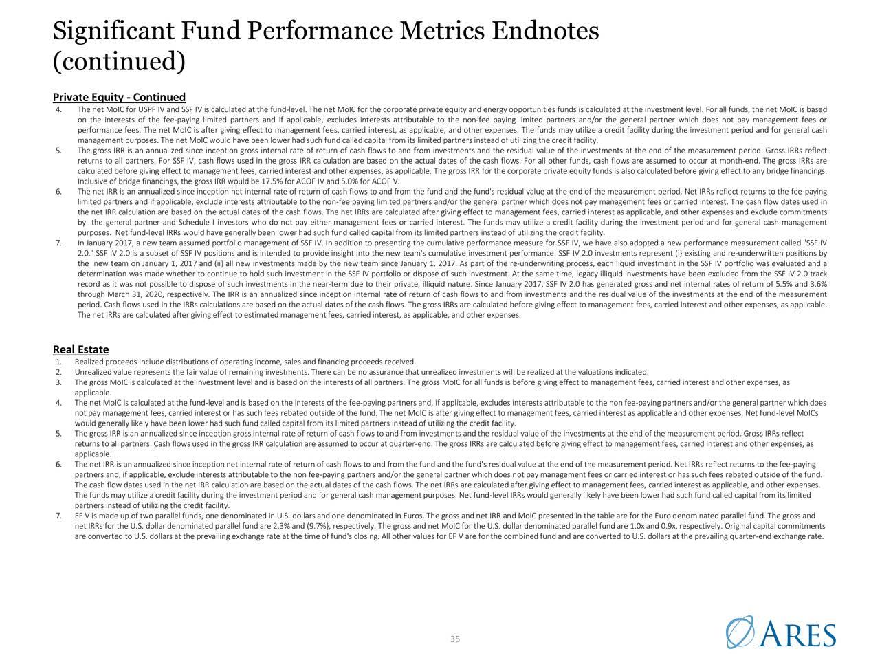 Notas finales significativas de métricas de rendimiento del fondo