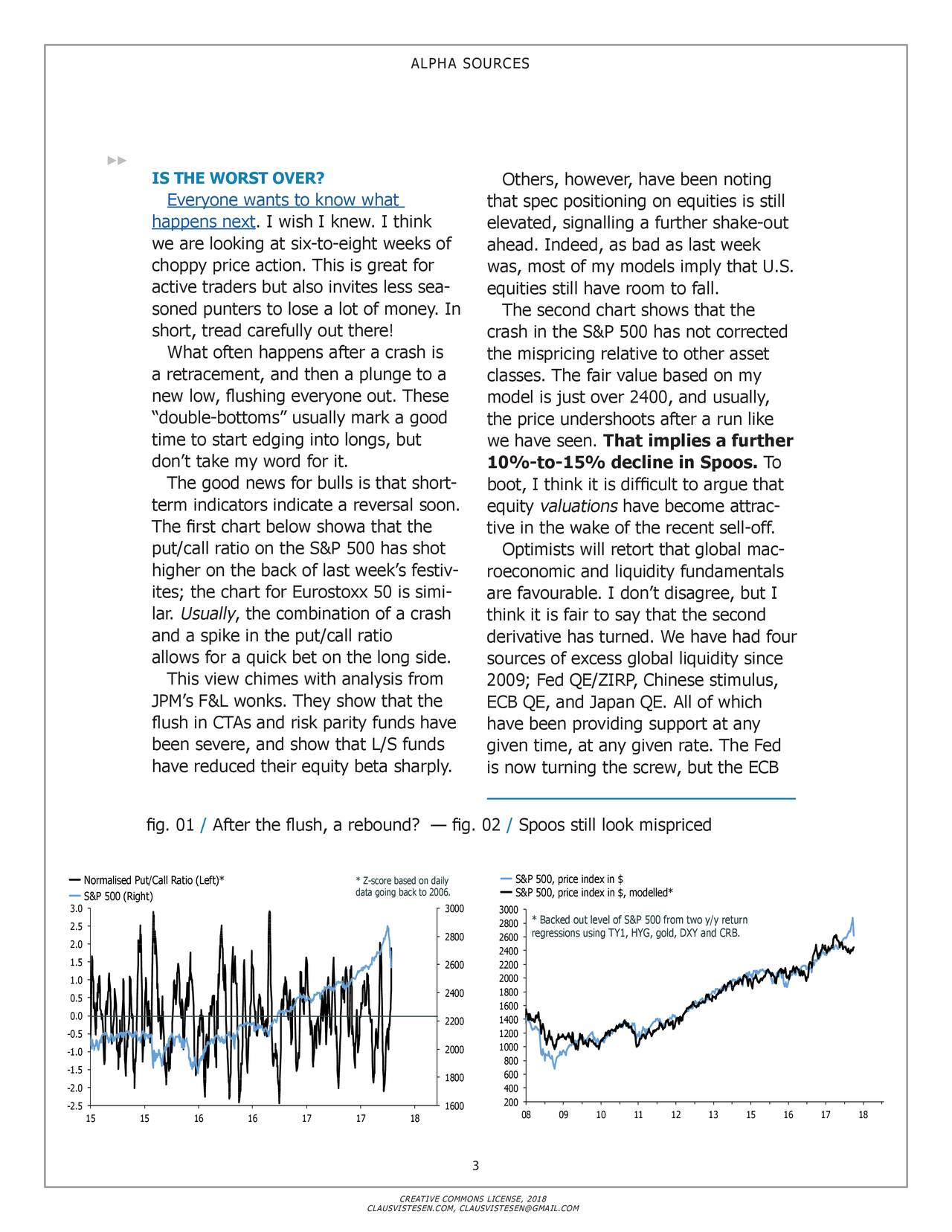 """IS THE WORST OVER? Others, however, have been noting Everyone wants to know what that spec positioning on equities is still happens next. I wish I knew. I think elevated, signalling a further shake-out we are looking at six-to-eight weeks of ahead. Indeed, as bad as last week choppy price action. This is great for was, most of my models imply that U.S. active traders but also invites less sea- equities still have room to fall. soned punters to lose a lot of money. In The second chart shows that the short, tread carefully out there! crash in the S&P 500 has not corrected What often happens after a crash is the mispricing relative to other asset a retracement, and then a plunge to a classes. The fair value based on my new low, flushing everyone out. These model is just over 2400, and usually, """"double-bottoms"""" usually mark a good the price undershoots after a run like time to start edging into longs, but we have seen. That implies a further don't take my word for it. 10%-to-15% decline in Spoos. To The good news for bulls is that short- boot, I think it is difficult to argue that term indicators indicate a reversal soon. equity valuations have become attrac- The first chart below showa that the tive in the wake of the recent sell-off. put/call ratio on the S&P 500 has shot Optimists will retort that global mac - higher on the back of last week's festiv - roeconomic and liquidity fundamentals ites; the chart for Eurostoxx 50 is simi - are favourable. I don't disagree, but I lar. Usually, the combination of a crash think it is fair to say that the second and a spike in the put/call ratio derivative has turned. We have had four allows for a quick bet on the long side. sources of excess global liquidity since This view chimes with analysis from 2009; Fed QE/ZIRP, Chinese stimulus, JPM's F&L wonks. They show that the ECB QE, and Japan QE. All of which flush in CTAs and risk parity funds have have been providing support at any been severe, and show that L/S funds given time,"""