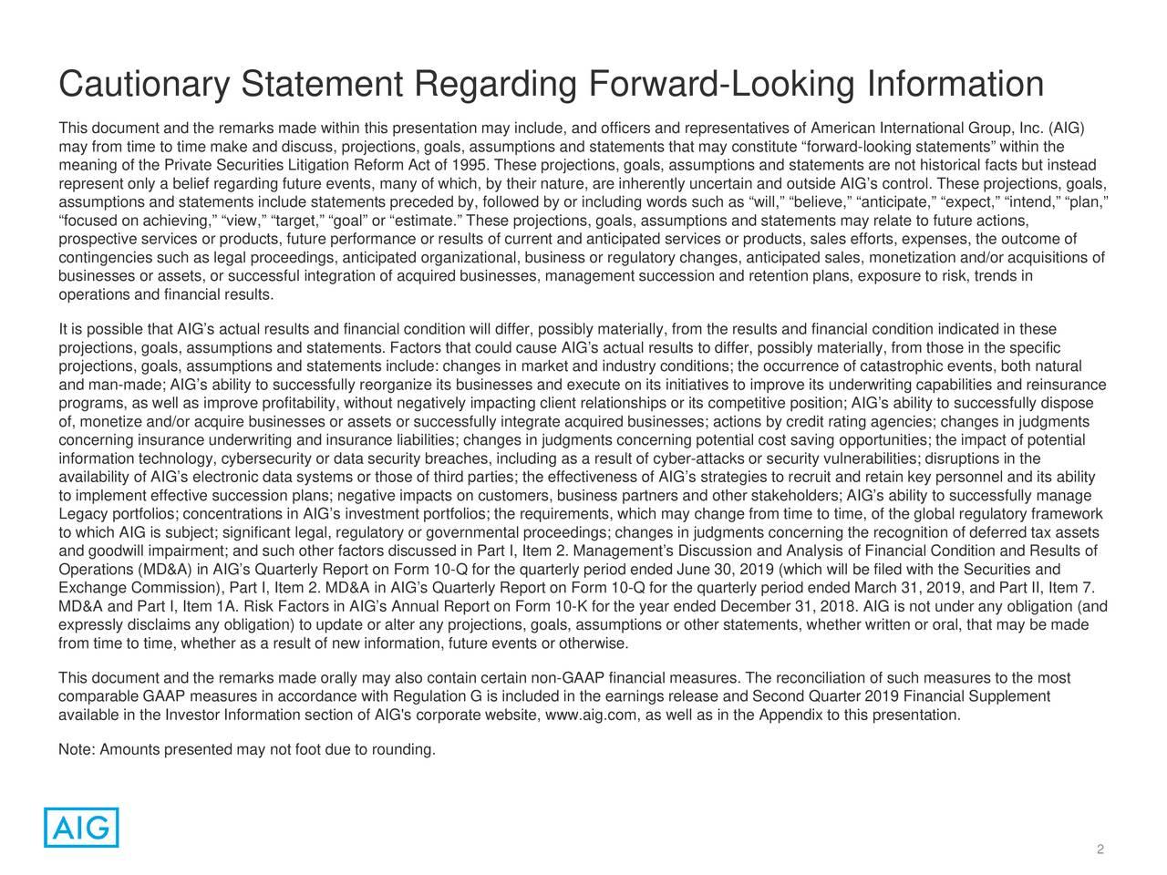 Cautionary Statement Regarding Forward-Looking Information
