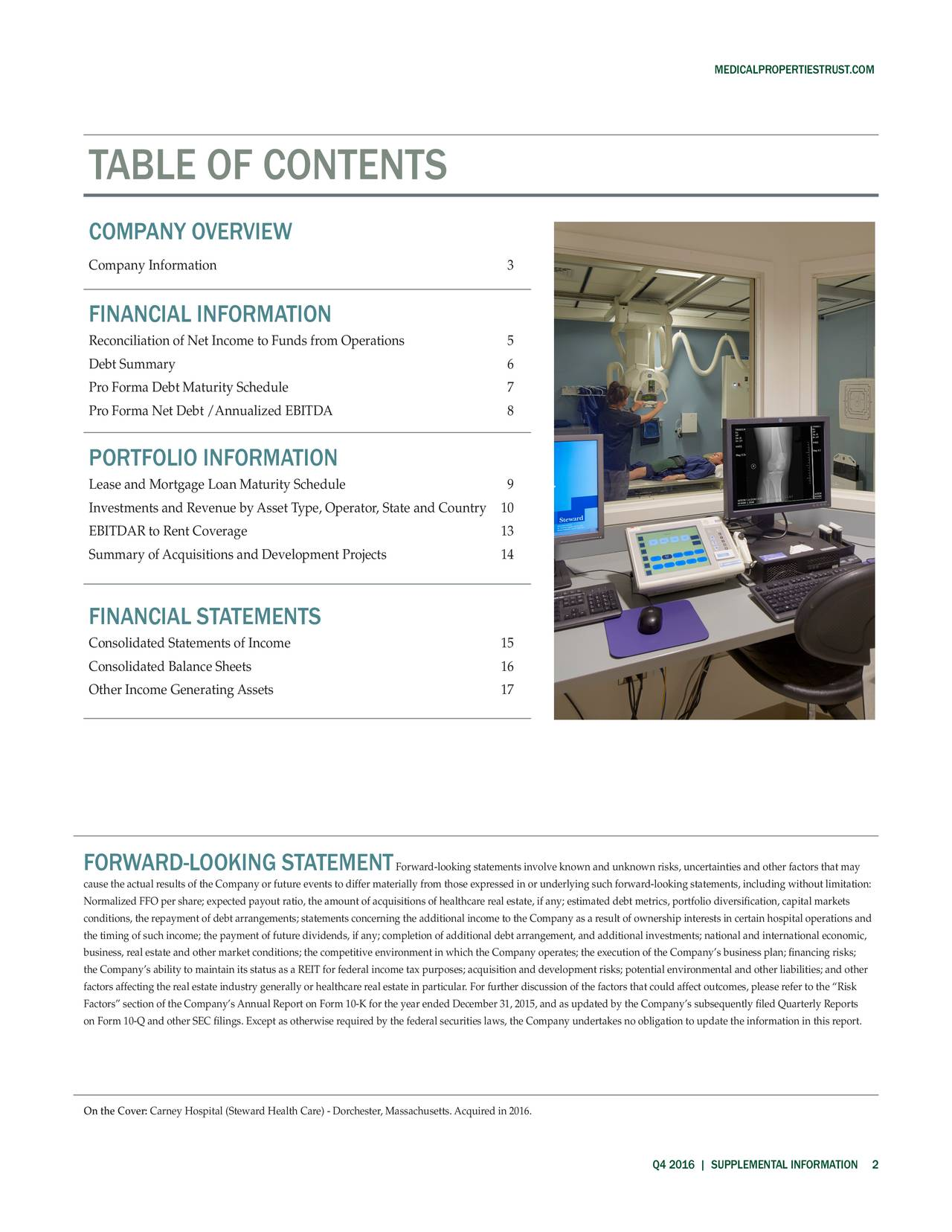 TABLE OF CONTENTS COMPANY OVERVIEW Company Information 3 FINANCIAL INFORMATION Reconciliation of Net Income to Funds from Operations 5 Debt Summary 6 Pro Forma Debt Maturity Schedule 7 Pro Forma Net Debt /Annualized EBITDA 8 PORTFOLIO INFORMATION Lease and Mortgage Loan Maturity Schedule 9 Investments and Revenue by Asset Type, Operator, State an0yCoun1tr EBITDAR to Rent Coverage 13 Summary of Acquisitions and Development Projects 14 FINANCIAL STATEMENTS Consolidated Statements of Income 15 Consolidated Balance Sheets 16 Other Income Generating Assets 17 FORWARD-LOOKING STATEME FNrward-looking statements involve known and unknown risks, uncertainties and other factors that may cause the actual results of the Company or future events to differ materially from those expressed in or underlying such forward-looking statements, including without limitation: Normalized FFO per share; expected payout ratio, the amount of acquisitions of healthcare real estate, if any; estimated debt metrics, portfolio diversification, capital markets conditions, the repayment of debt arrangements; statements concerning the additional income to the Company as a result of ownership interests in certain hospital operations and the timing of such income; the payment of future dividends, if any; completion of additional debt arrangement, and additional investments; national and international economic, business, real estate and other market conditions; the competitive environment in which the Company operates; the execution of the Companys business plan; financing risks; the Companys ability to maintain its status as a REIT for federal income tax purposes; acquisition and development risks; potential environmental and other liabilities; and other factors affecting the real estate industry generally or healthcare real estate in particular. For further discussion of the factors that could affect outcomes, please refer to the Risk Factors section of the Companys Annual Report on Form 10-K for the year ended December 31, 2015, and as updated by the Companys subsequently filed Quarterly Reports on Form 10-Q and other SEC filings. Except as otherwise required by the federal securities laws, the Company undertakes no obligation to update the information in this report. On the Co: arney Hospital (Steward Health Care) - Dorchester, Massachusetts. Acquired in 2016. Q4 2016 | SUPPLEMENTAL INFORMATIO2N