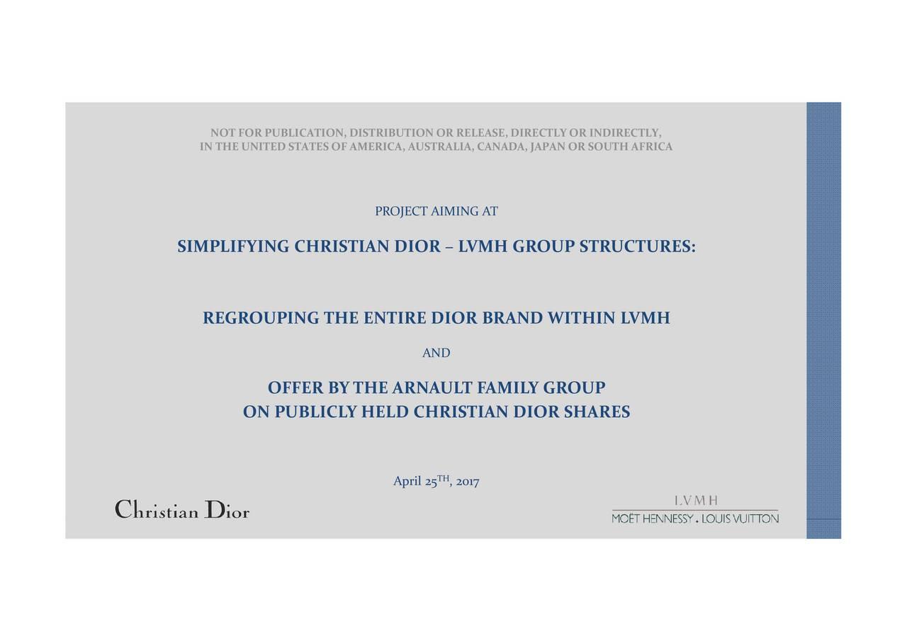 672f773e2fb Louis Vuitton (LVMHF) To Take Control Of Christian Dior (CHDRF) In ...