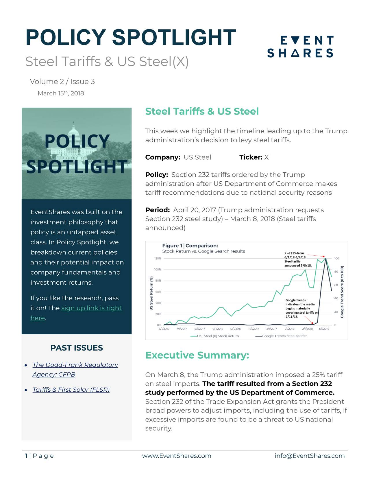 Steel Tariffs & US Steel(X) Volume 2 / Issue 3 March 15 , 2018 Steel Tariffs & US Steel This week we highlight the timeline leading up to the Trump administration's decision to levy steel tariffs. Company: US Steel Ticker: X Policy: Section 232 tariffs ordered by the Trump administration after US Department of Commerce makes tariff recommendations due to national security reasons EventShares was built on the Period: April 20, 2017 (Trump administration requests Section 232 steel study) – March 8, 2018 (Steel tariffs investment philosophy that policy is an untapped asset announced) class. In Policy Spotlight, we breakdown current policies and their potential impact on company fundamentals and investment returns. If you like the research, pass it on! The sign up link is right here. PAST ISSUES Executive Summary: • The Dodd-Frank Regulatory Agency: CFPB On March 8, the Trump administration imposed a 25% tariff on steel imports. The tariff resulted from a Section 232 • Tariffs & First Solar (FLSR) study performed by the US Department of Commerce. Section 232 of the Trade Expansion Act grants the President broad powers to adjust imports, including the use of tariffs, if excessive imports are found to be a threat to US national security. 1 | P a g e www.EventShares.com info@EventShares.com