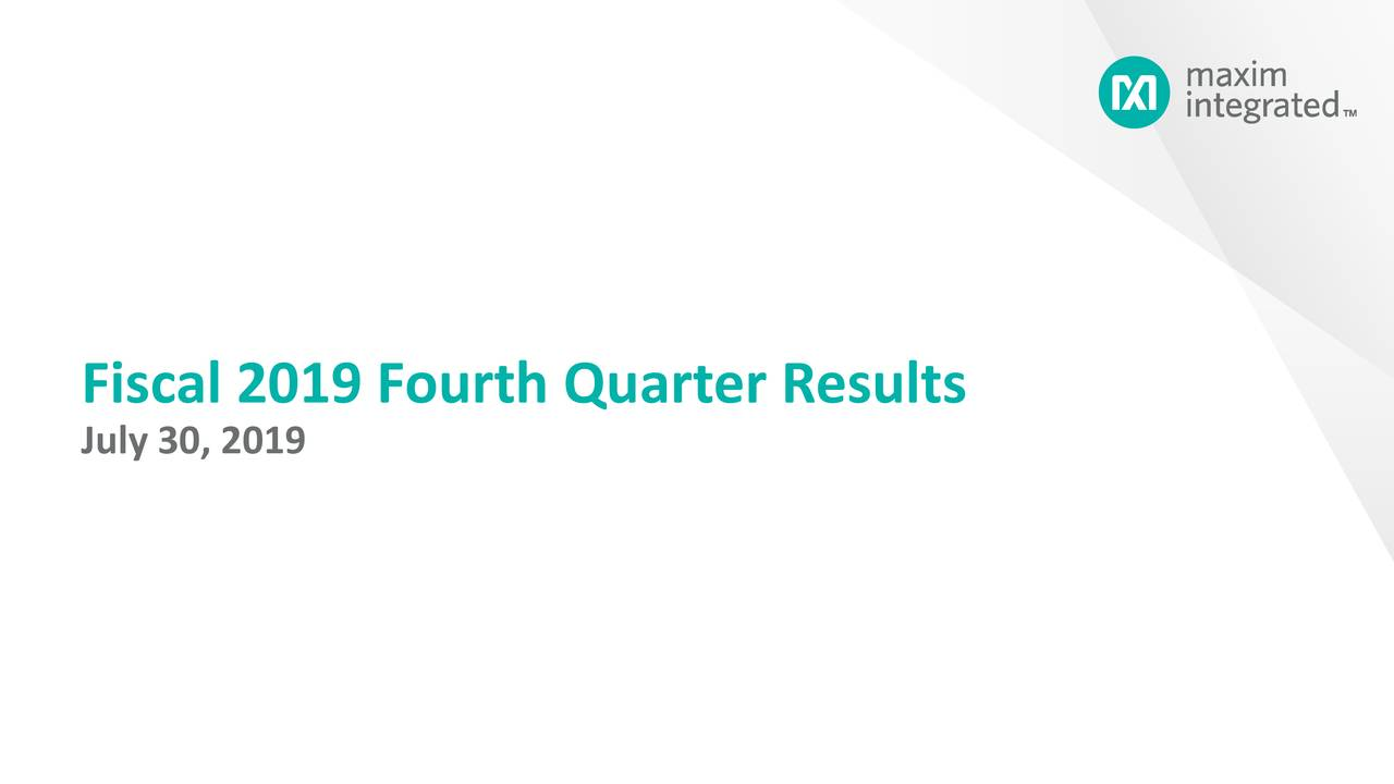 Fiscal 2019 Fourth Quarter Results