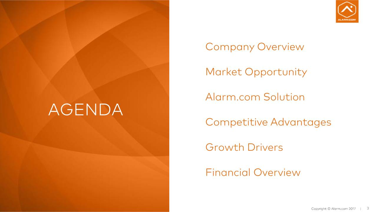 Market Opportunity Alarm.com Solution AGENDA Competitive Advantages Growth Drivers Financial Overview