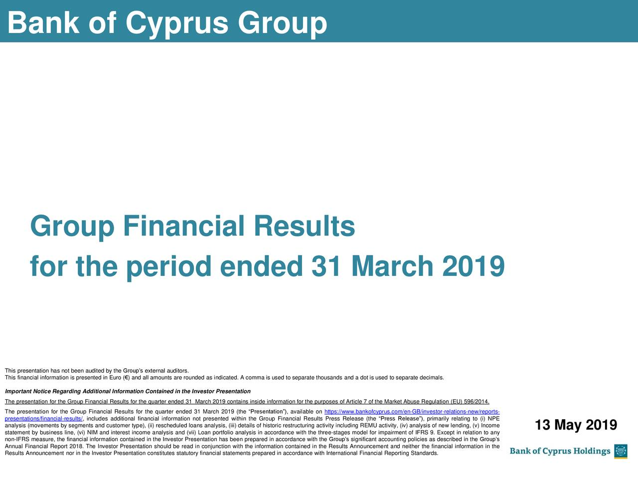 Bank of Cyprus Holdings Public Limited Company 2019 Q1 - Results - Earnings Call Slides