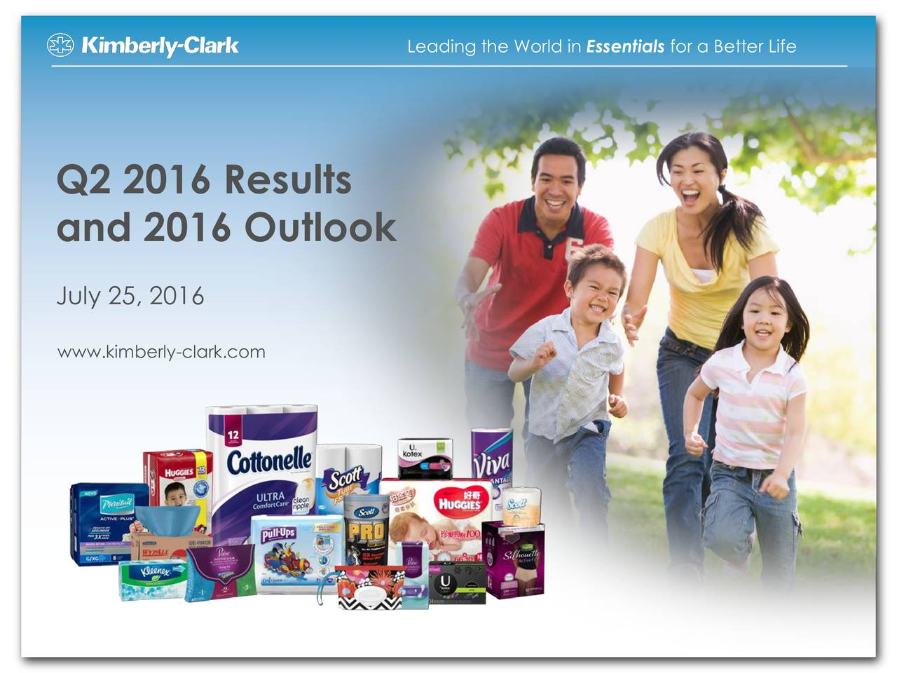 Q2 2016 Results and 2016 Outlook July 25, 2016 www.kimberly-clark.com