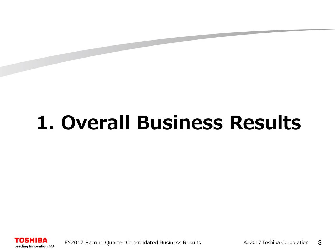 FY2017 Second Quarter Consolidated Business Results © 2017Toshba Corpoatono 3